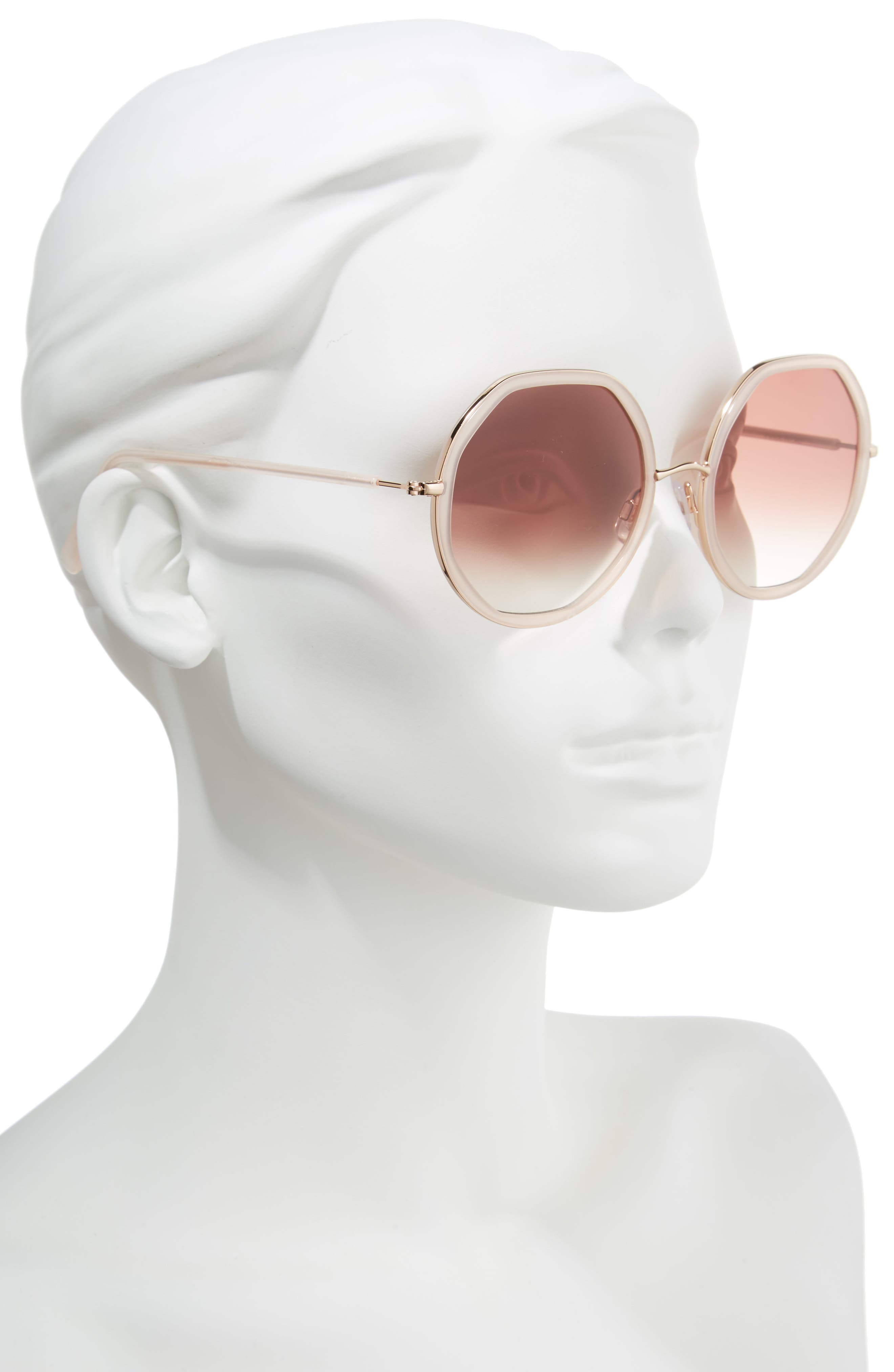 D'BLANC Sonic Bloom 58mm Sunglasses,                             Alternate thumbnail 2, color,                             Octagon Blush