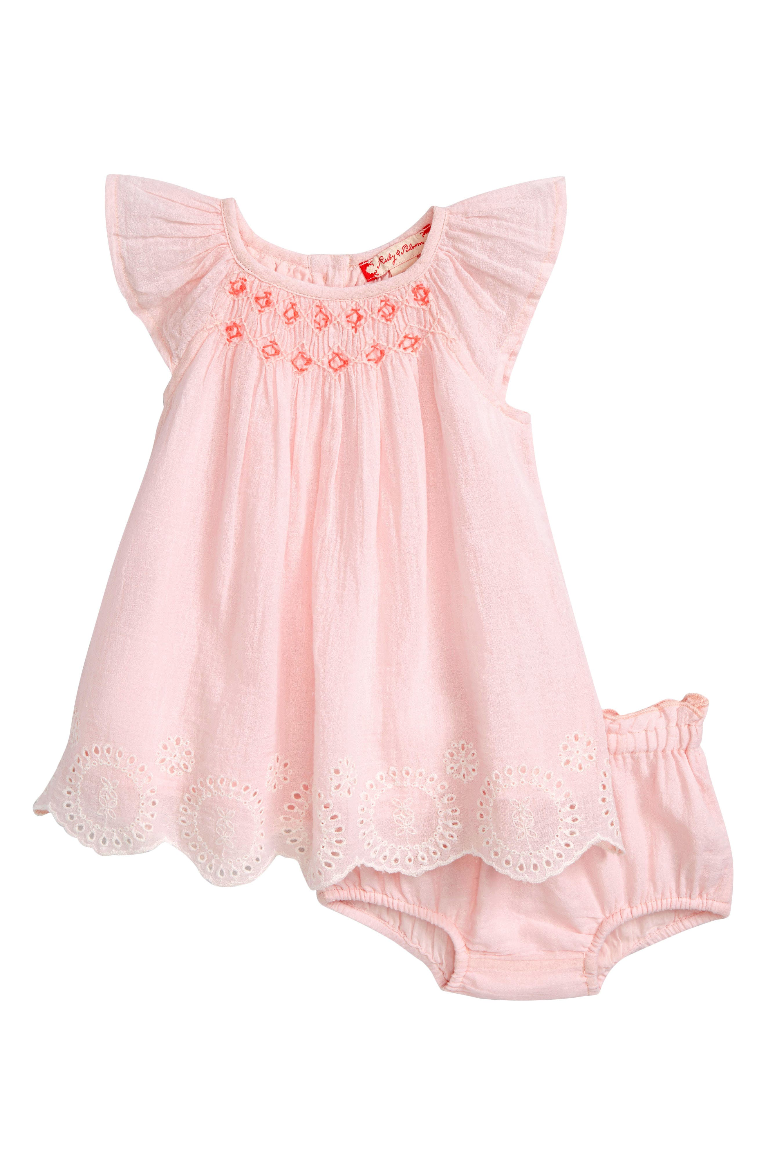 Neon Smocked Dress,                             Main thumbnail 1, color,                             Pink Amour