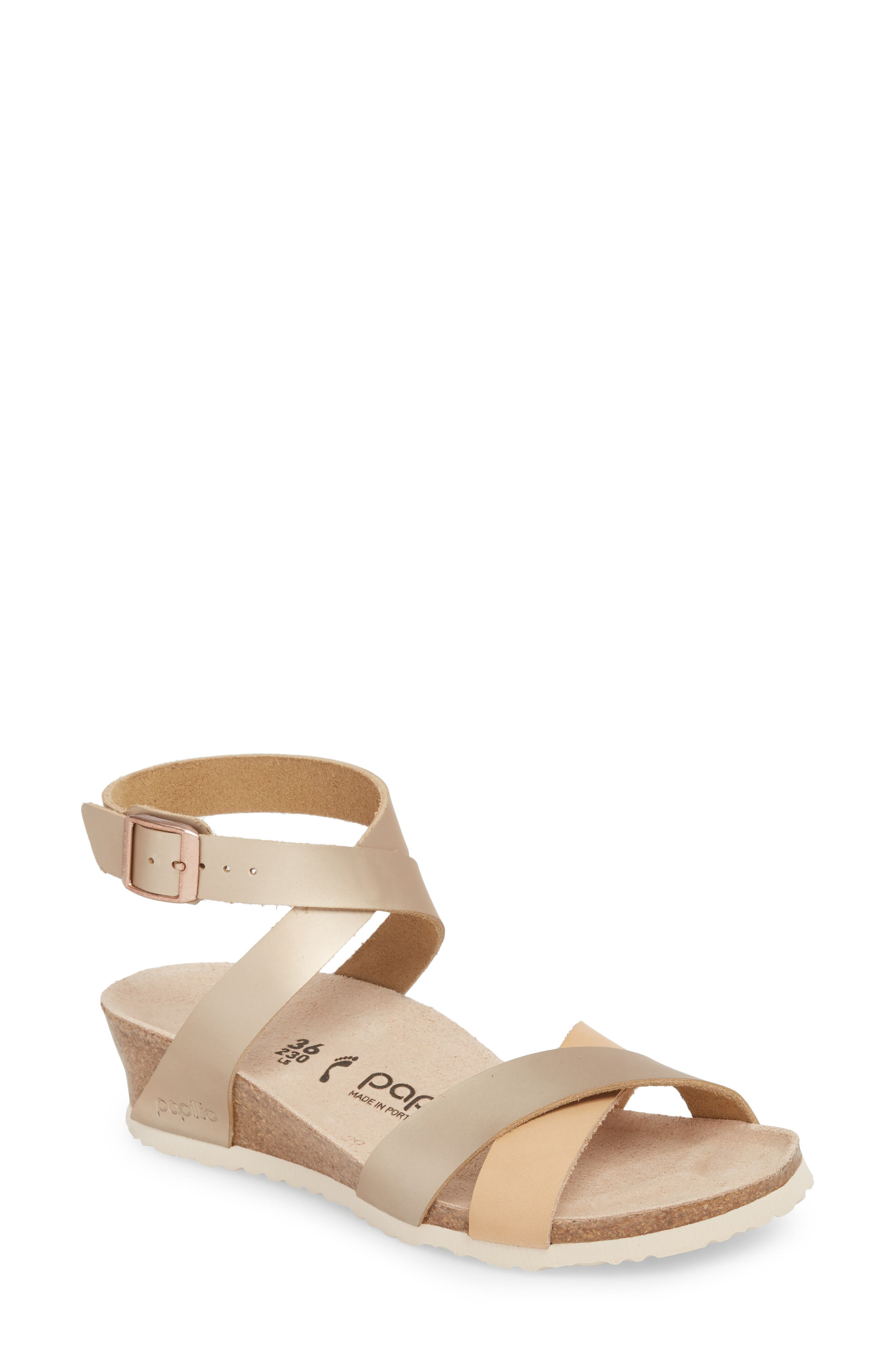 Papillio by Birkenstock Lola Wedge Sandal,                             Main thumbnail 1, color,                             Frosted Metallic Rose