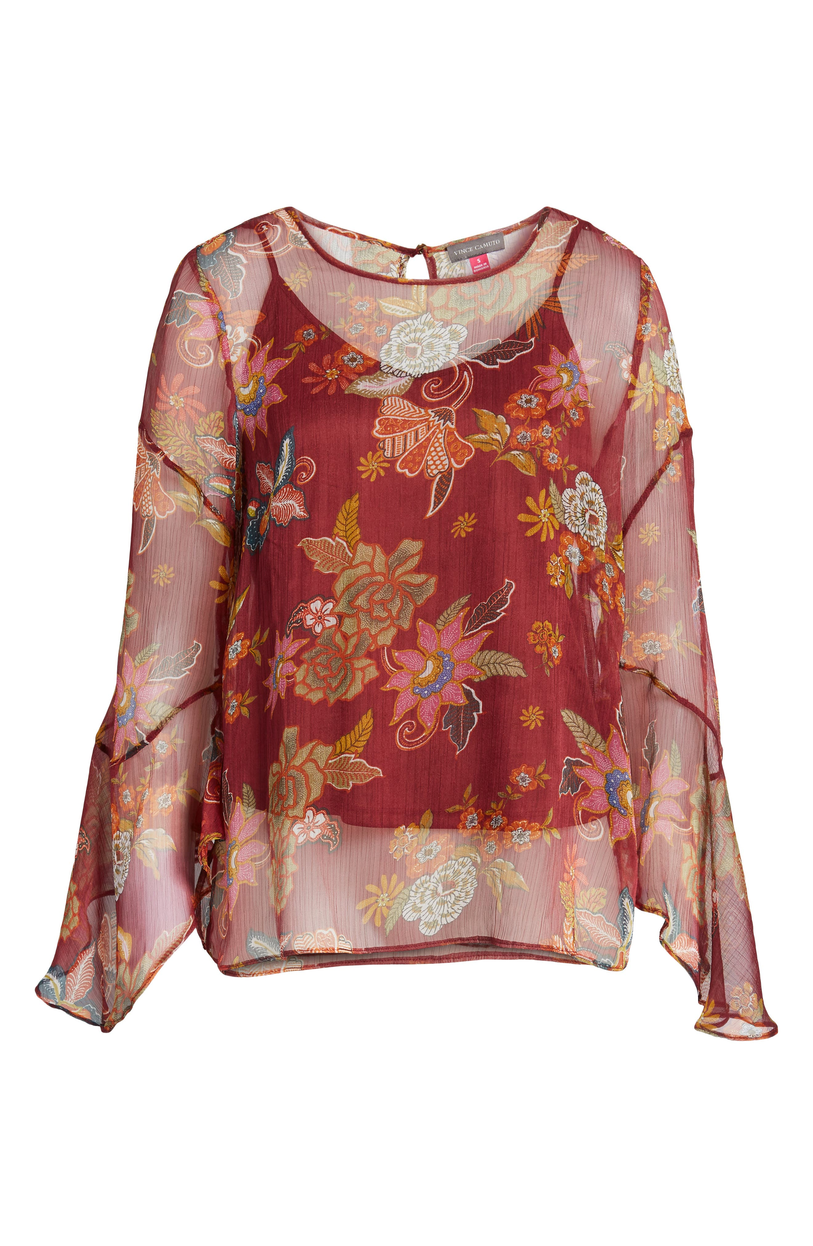 Flared Sleeve Floral Top,                             Alternate thumbnail 4, color,                             Dahlia Red