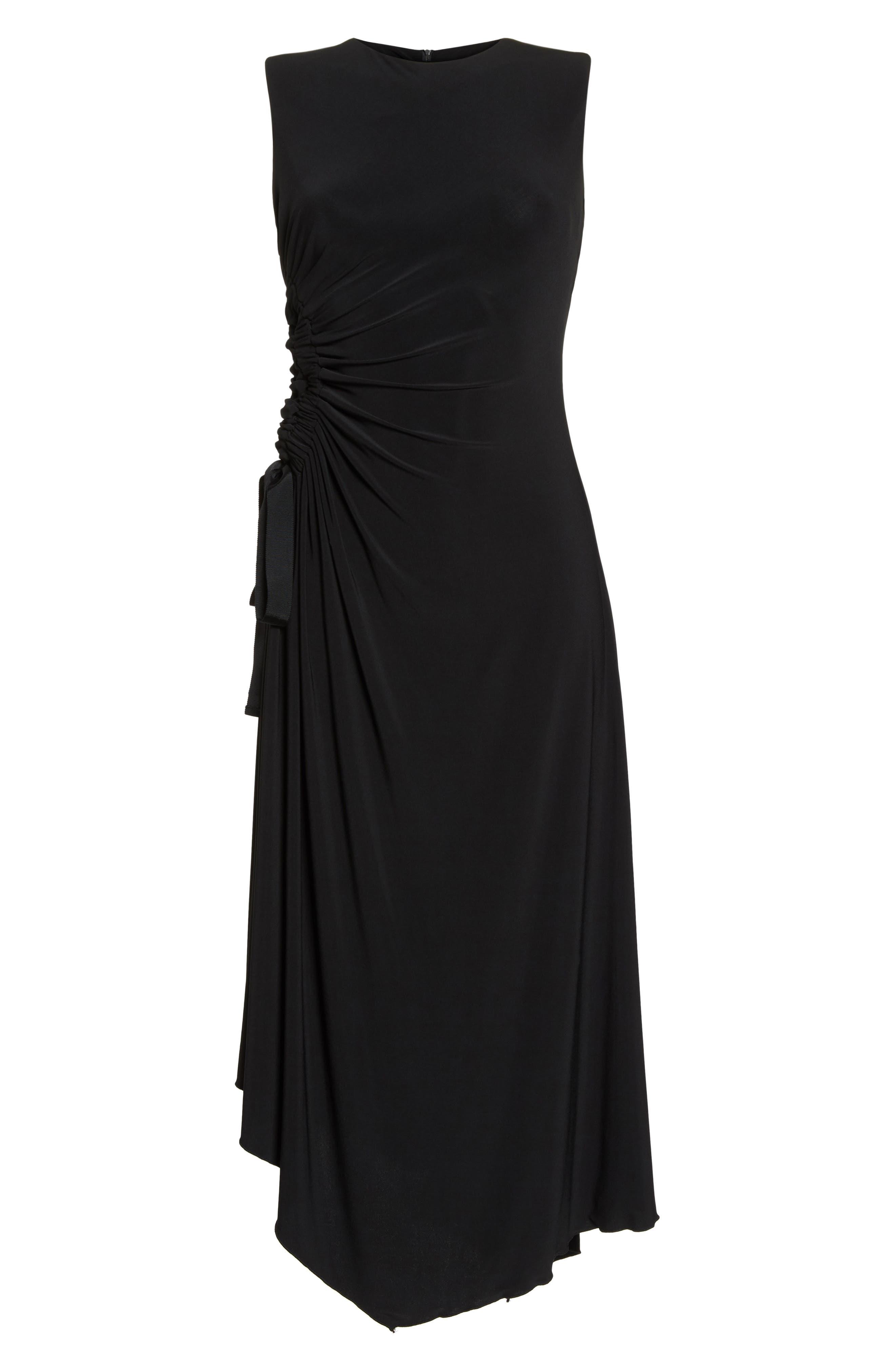 Ruched Side Tie Midi Dress,                             Alternate thumbnail 7, color,                             Black