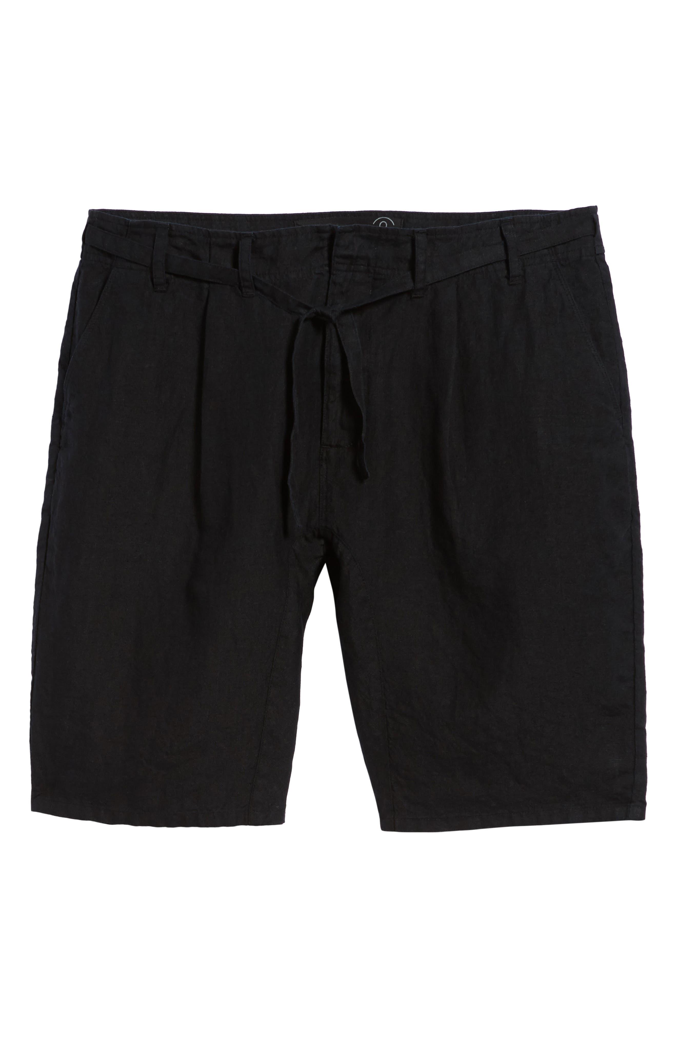Pleat Tie Waist Linen Shorts,                             Alternate thumbnail 6, color,                             Black