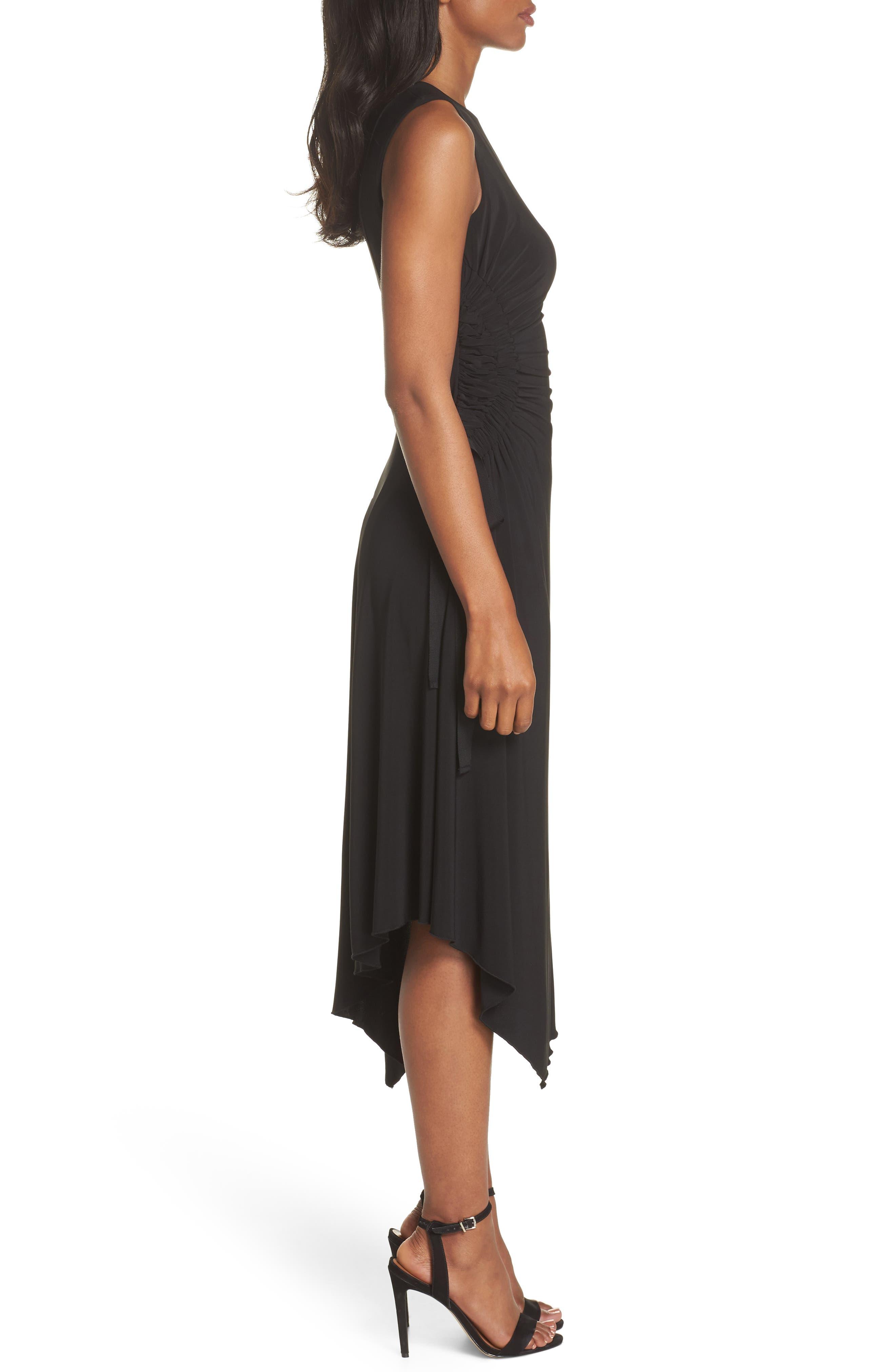 Ruched Side Tie Midi Dress,                             Alternate thumbnail 3, color,                             Black