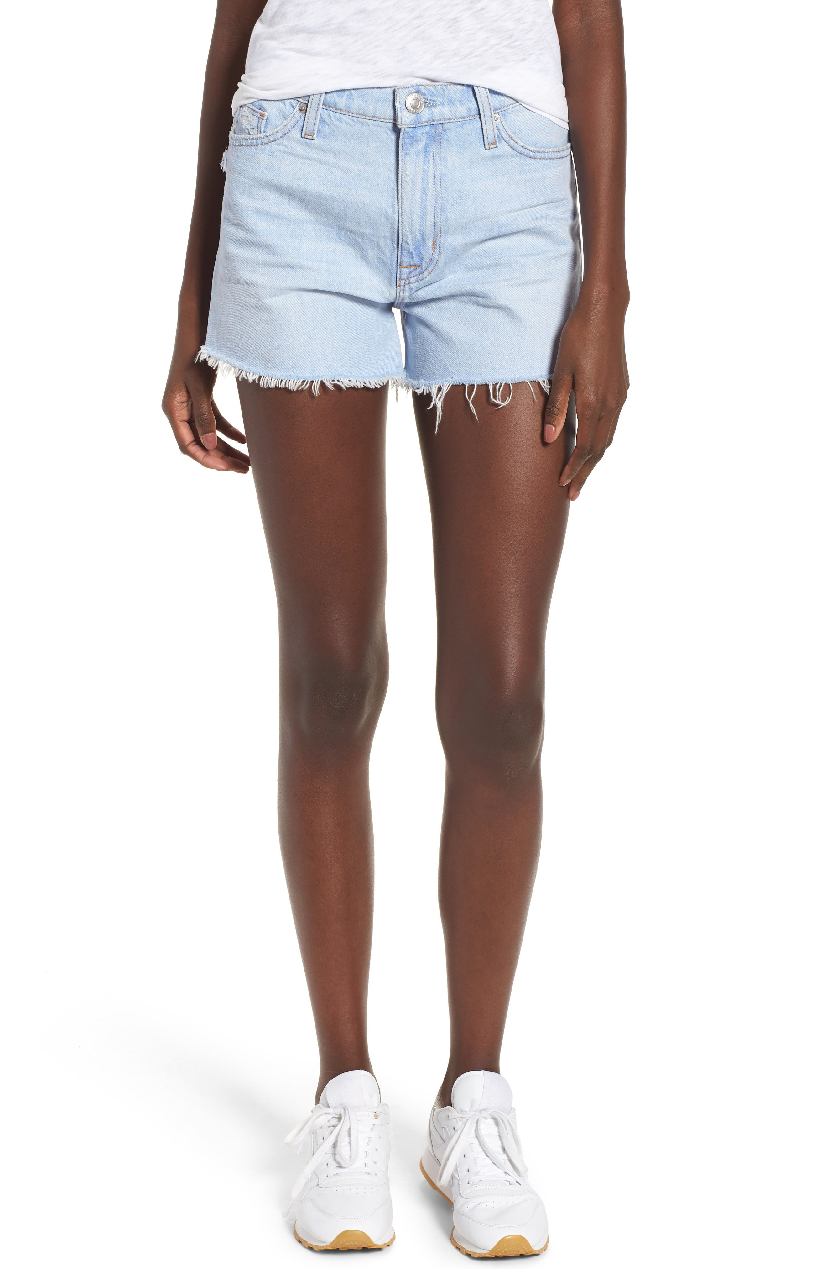 Sade Cutoff Denim Shorts,                         Main,                         color, Treasure