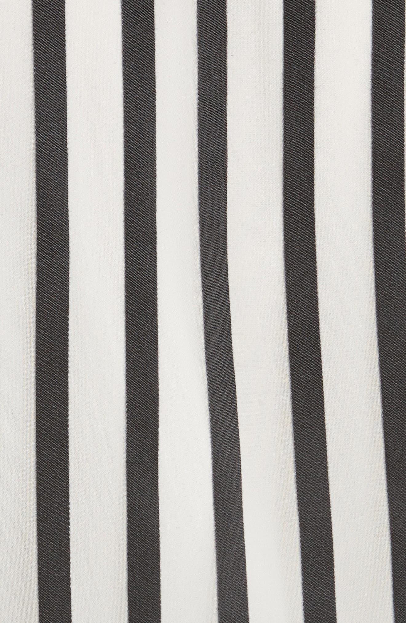 Dayer Drape Mock Wrap Silk Blend Blouse,                             Alternate thumbnail 5, color,                             Monochrome Stripe
