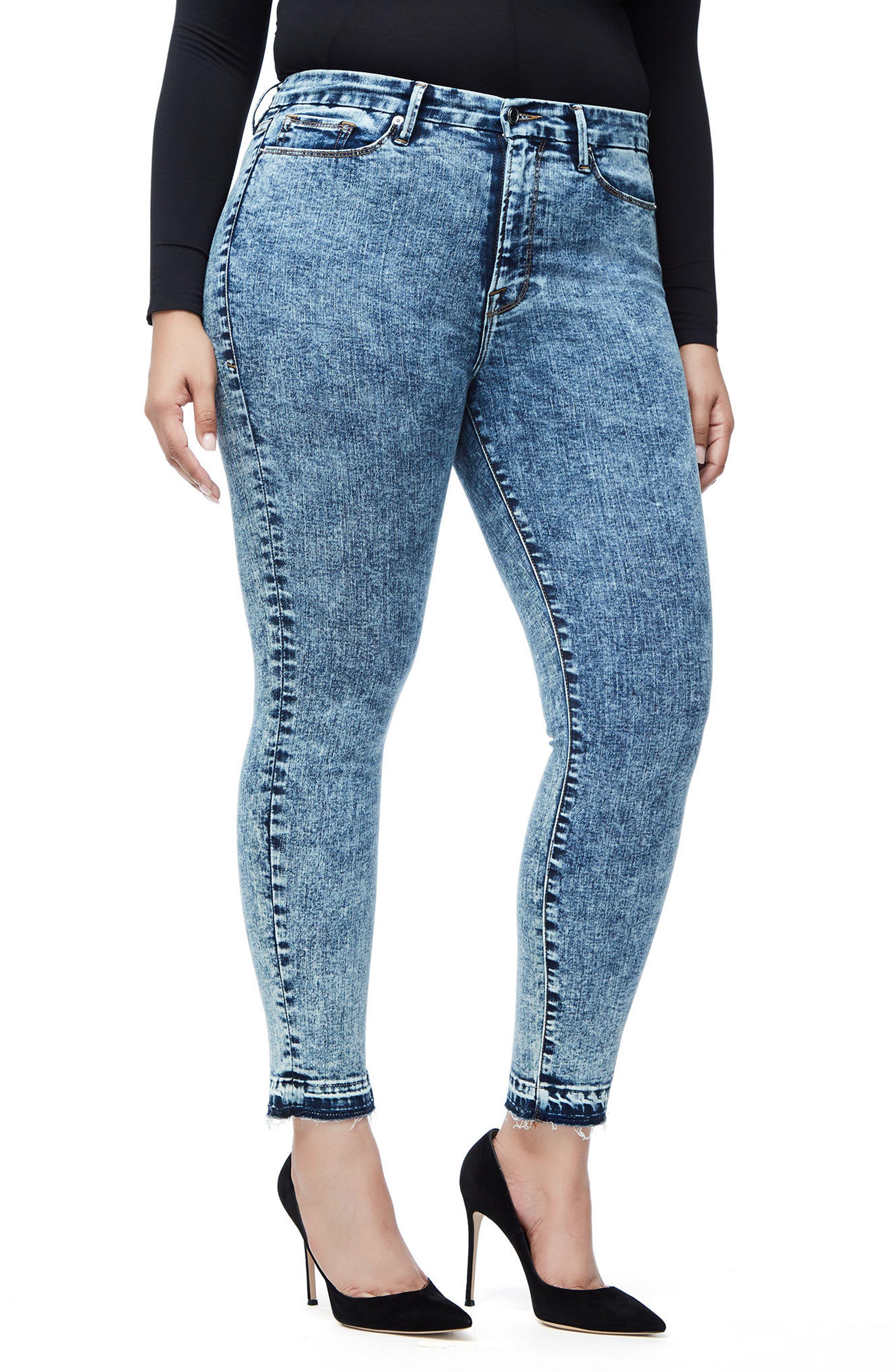 Good Waist Acid Wash Crop Skinny Jeans,                             Alternate thumbnail 6, color,                             Blue145