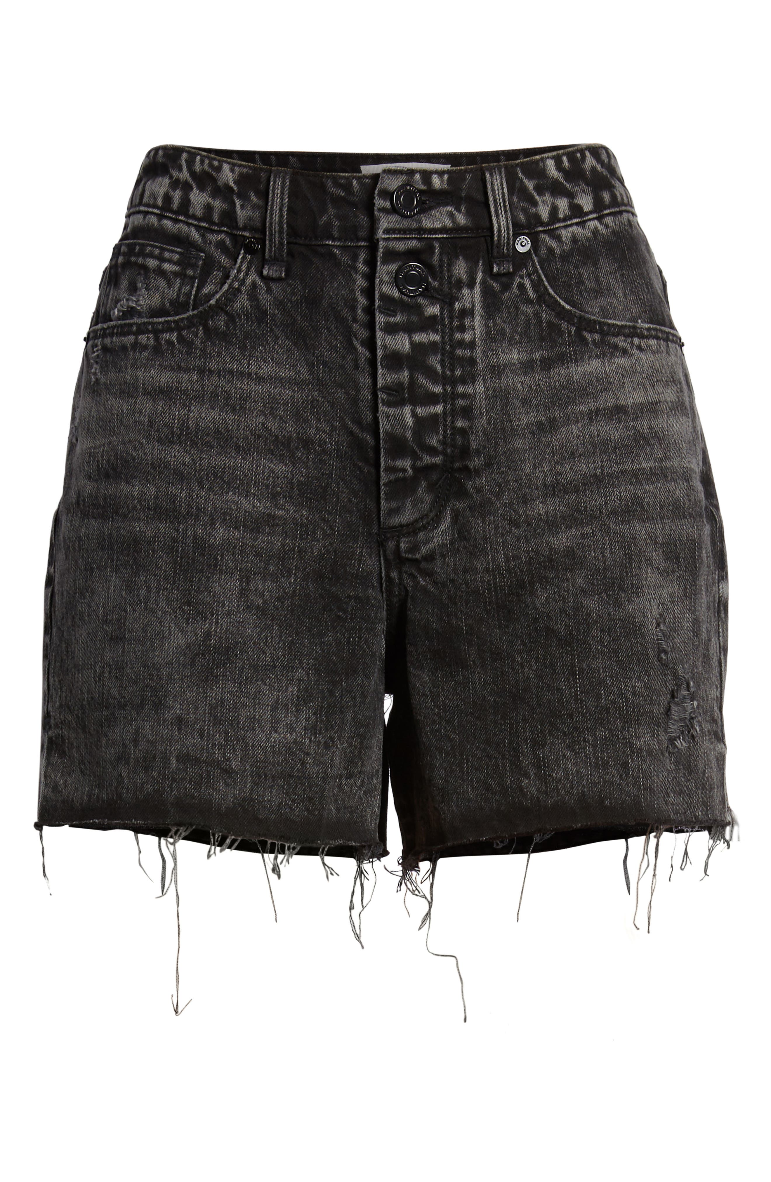 Maddie High Rise Raw Edge Denim Shorts,                             Alternate thumbnail 6, color,                             Obsidian