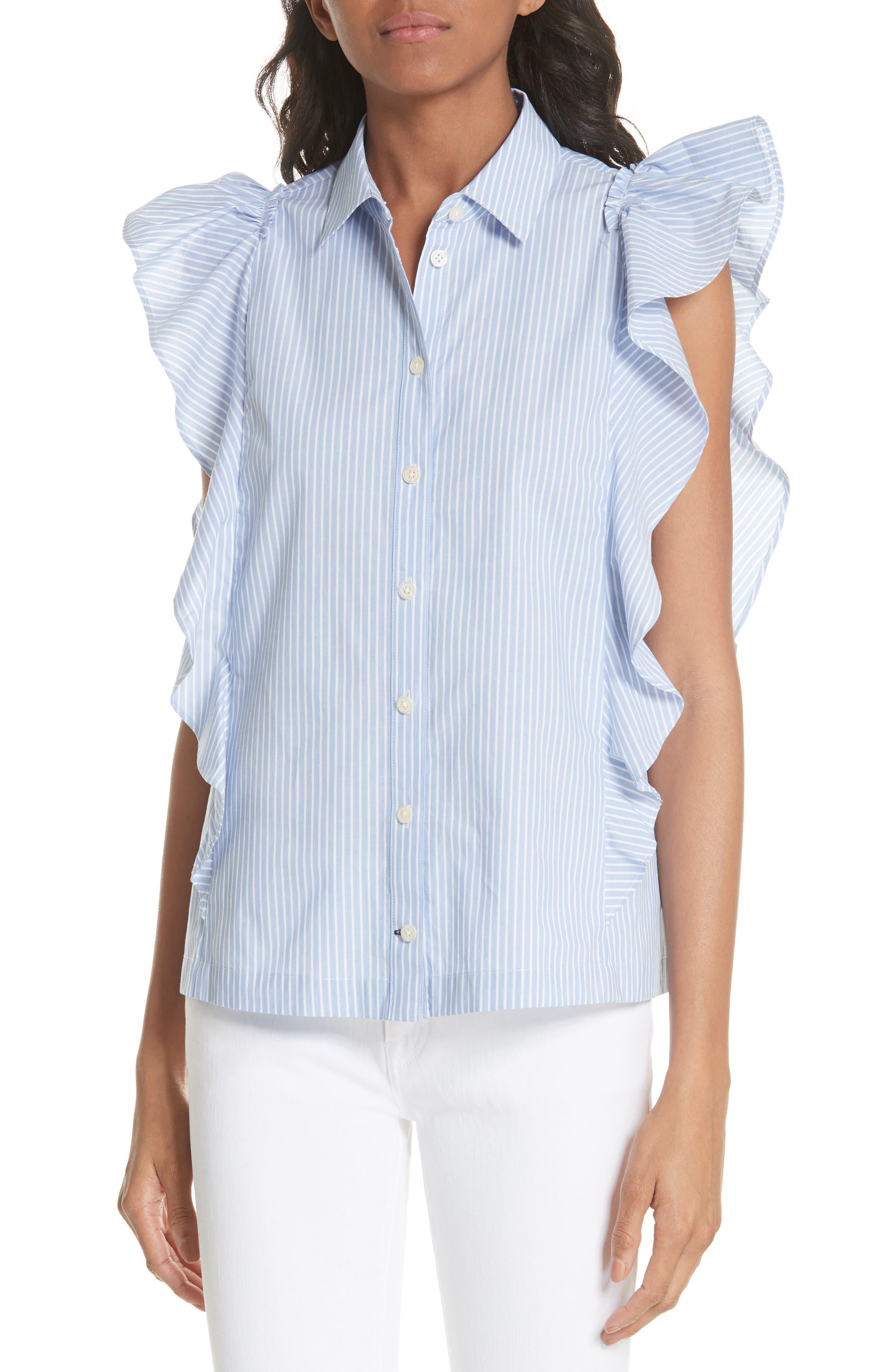 flutter sleeve stripe cotton blouse,                             Main thumbnail 1, color,                             Manatee/ Fresh White
