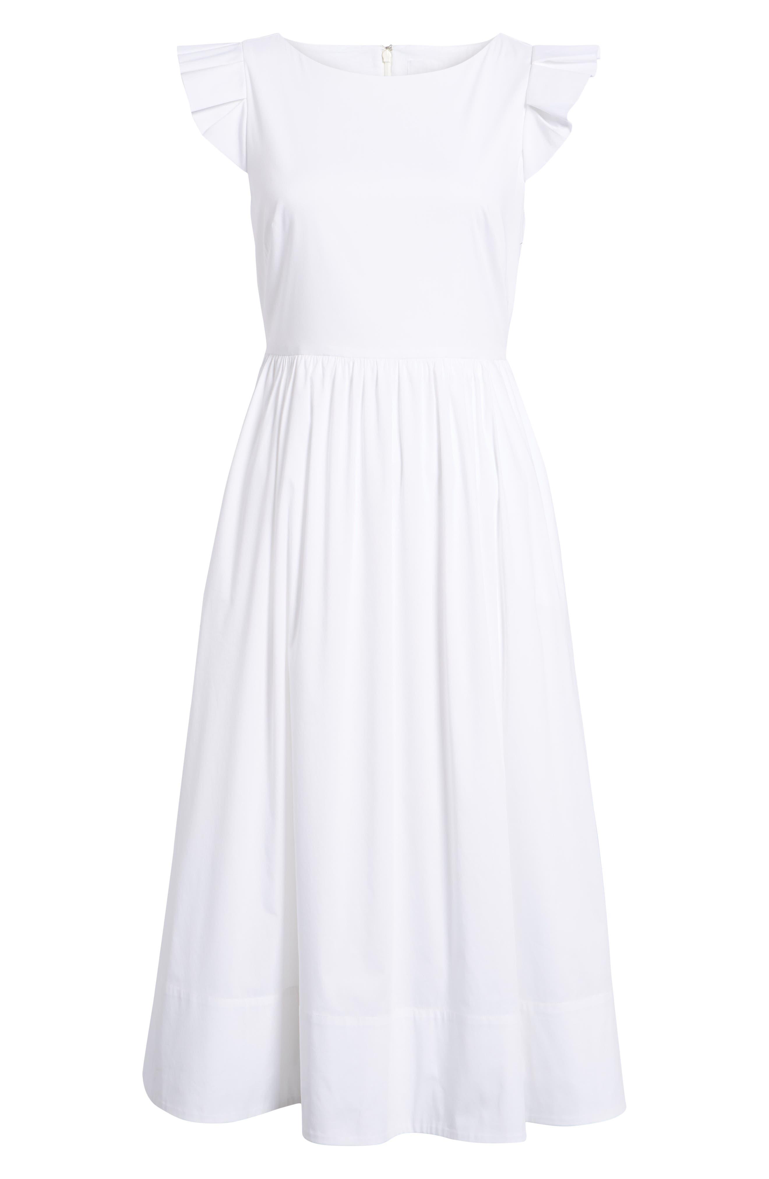 Ruffle Fit & Flare Midi Dress,                             Alternate thumbnail 7, color,                             White
