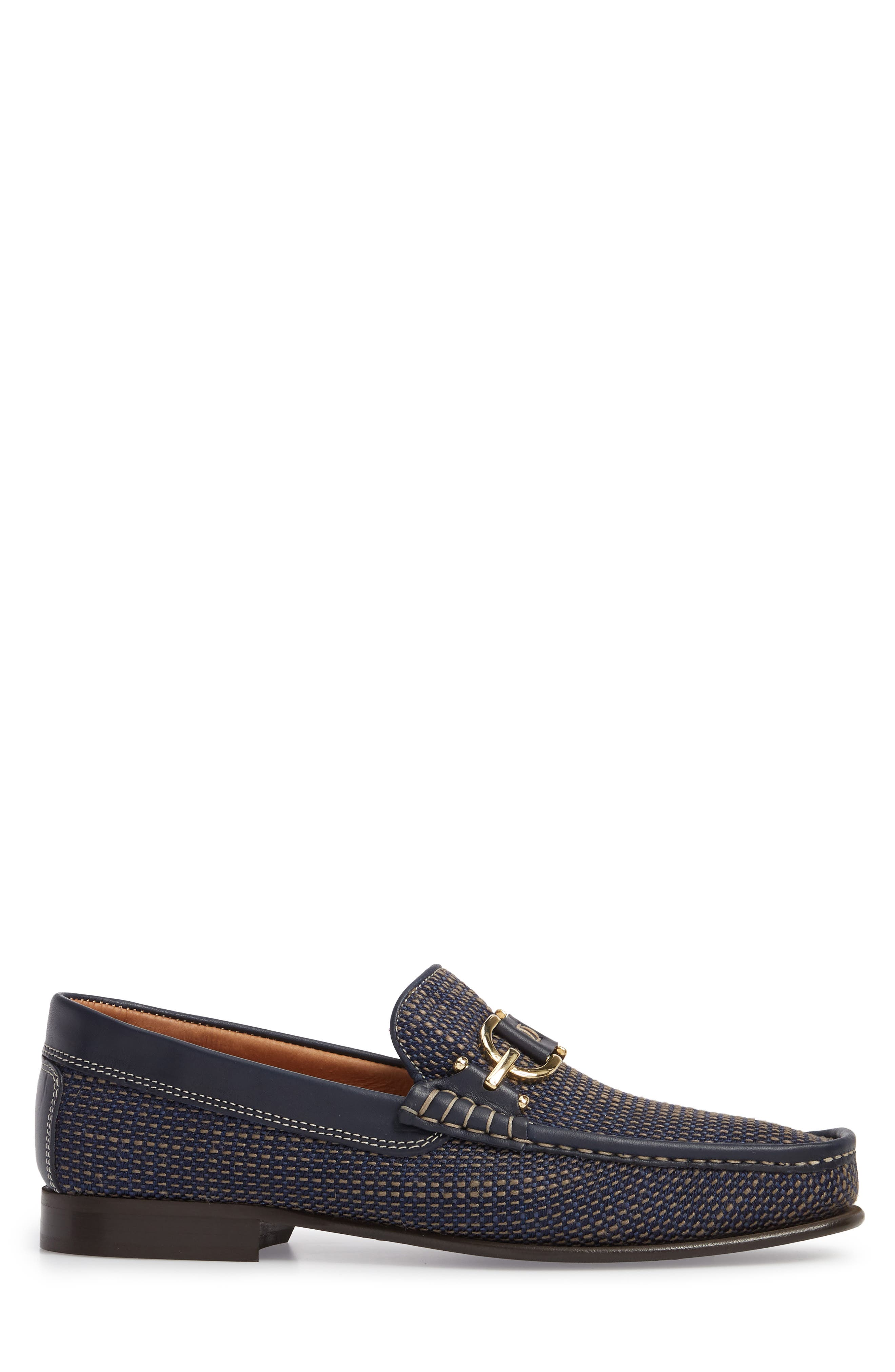 Dacio Woven Bit Loafer,                             Alternate thumbnail 3, color,                             Navy Leather