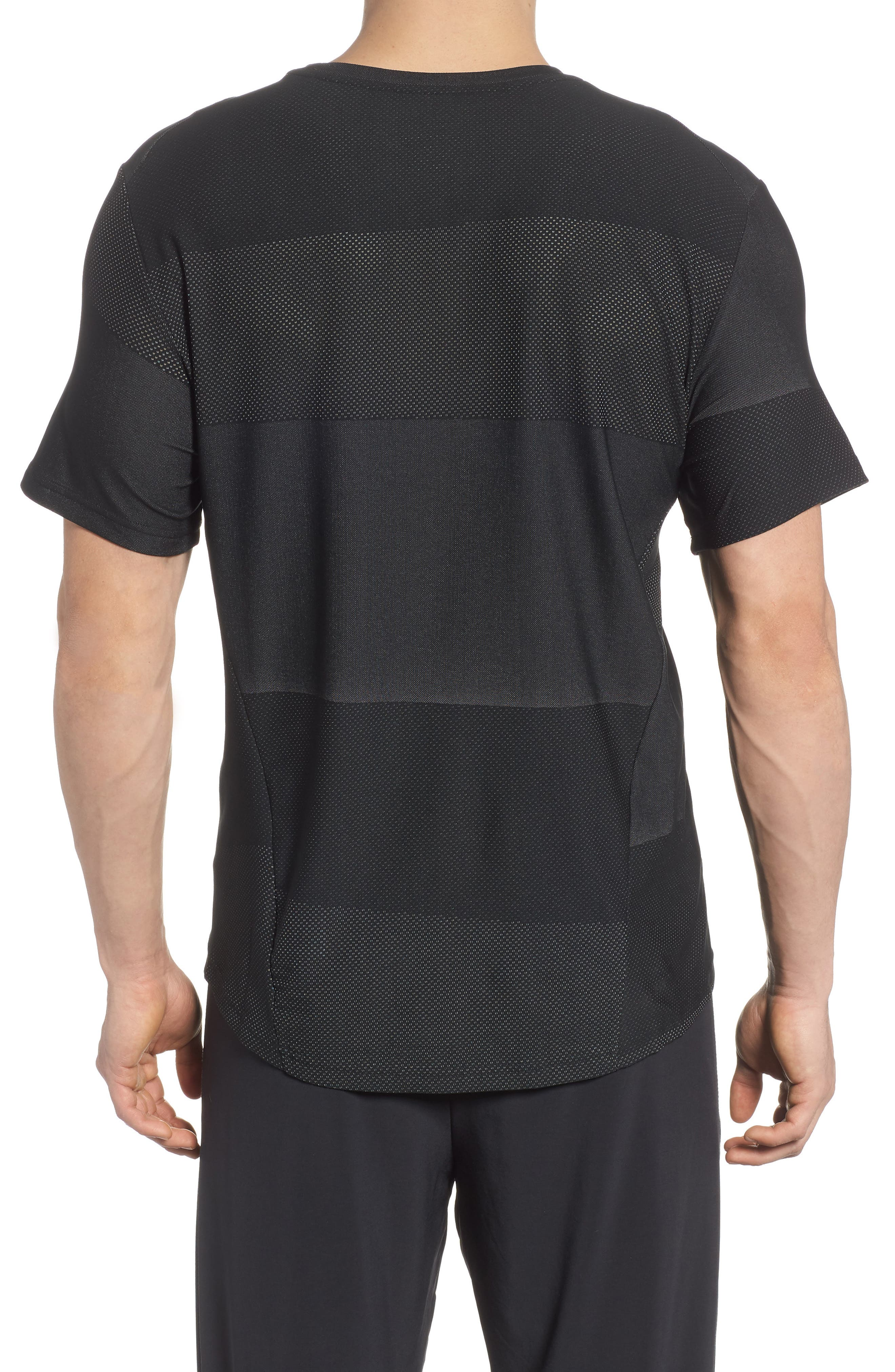 Crewneck Mesh T-Shirt,                             Alternate thumbnail 2, color,                             Black/ White/ Mtlc Hematite