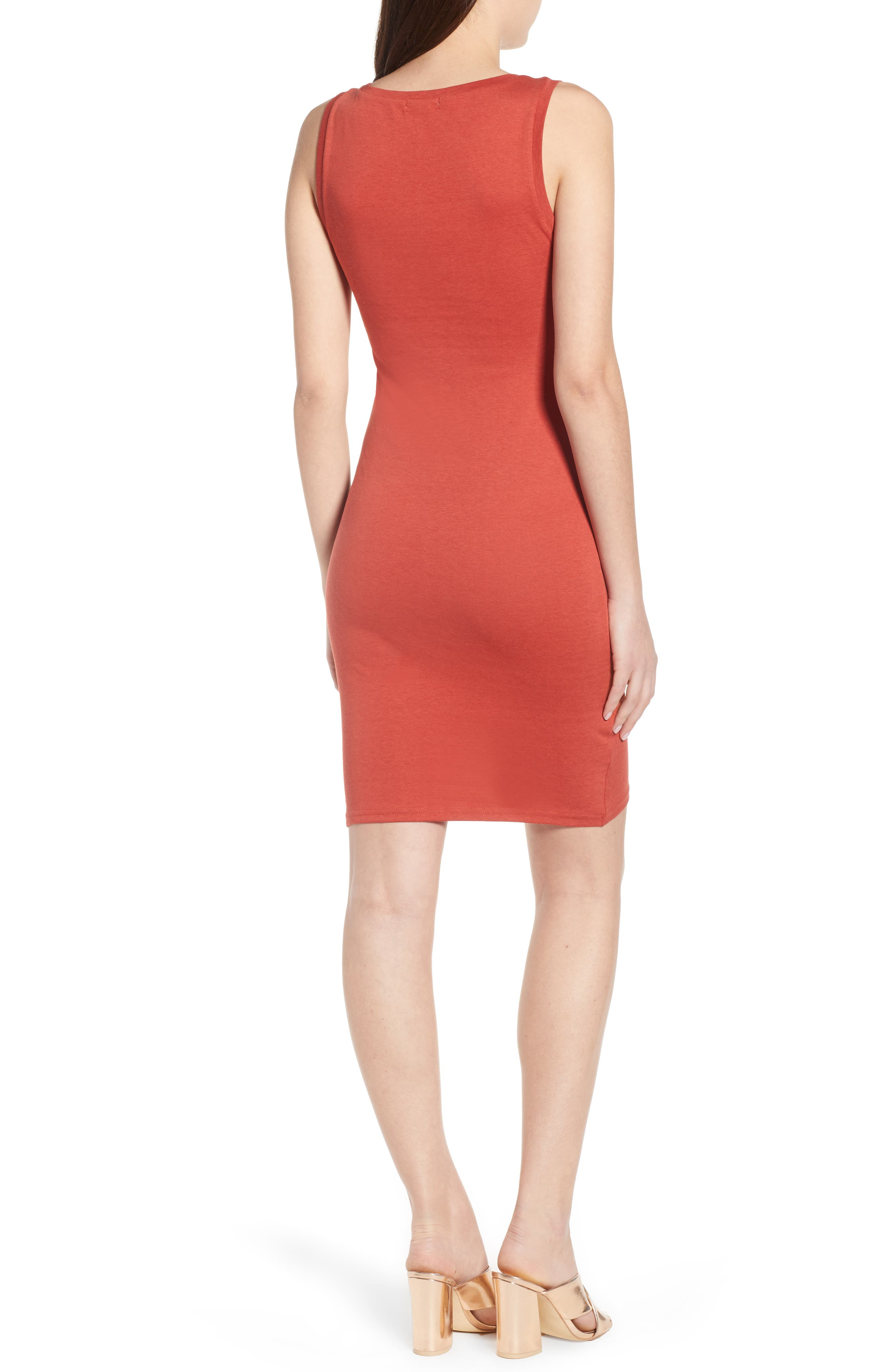 Ruched Body-Con Tank Dress,                             Alternate thumbnail 2, color,                             Rust Bossa Nova