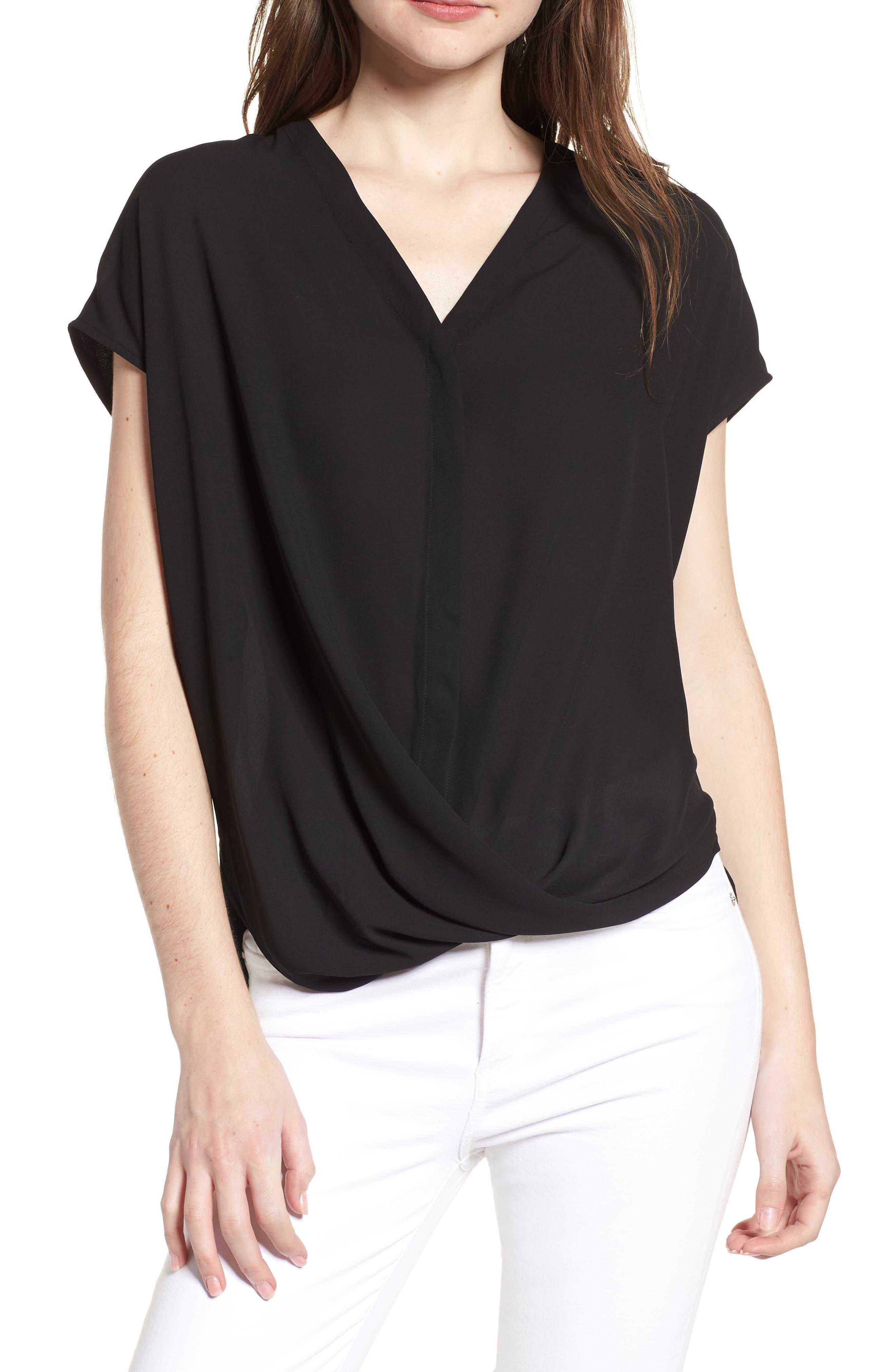 Drape Front Top,                         Main,                         color, Black
