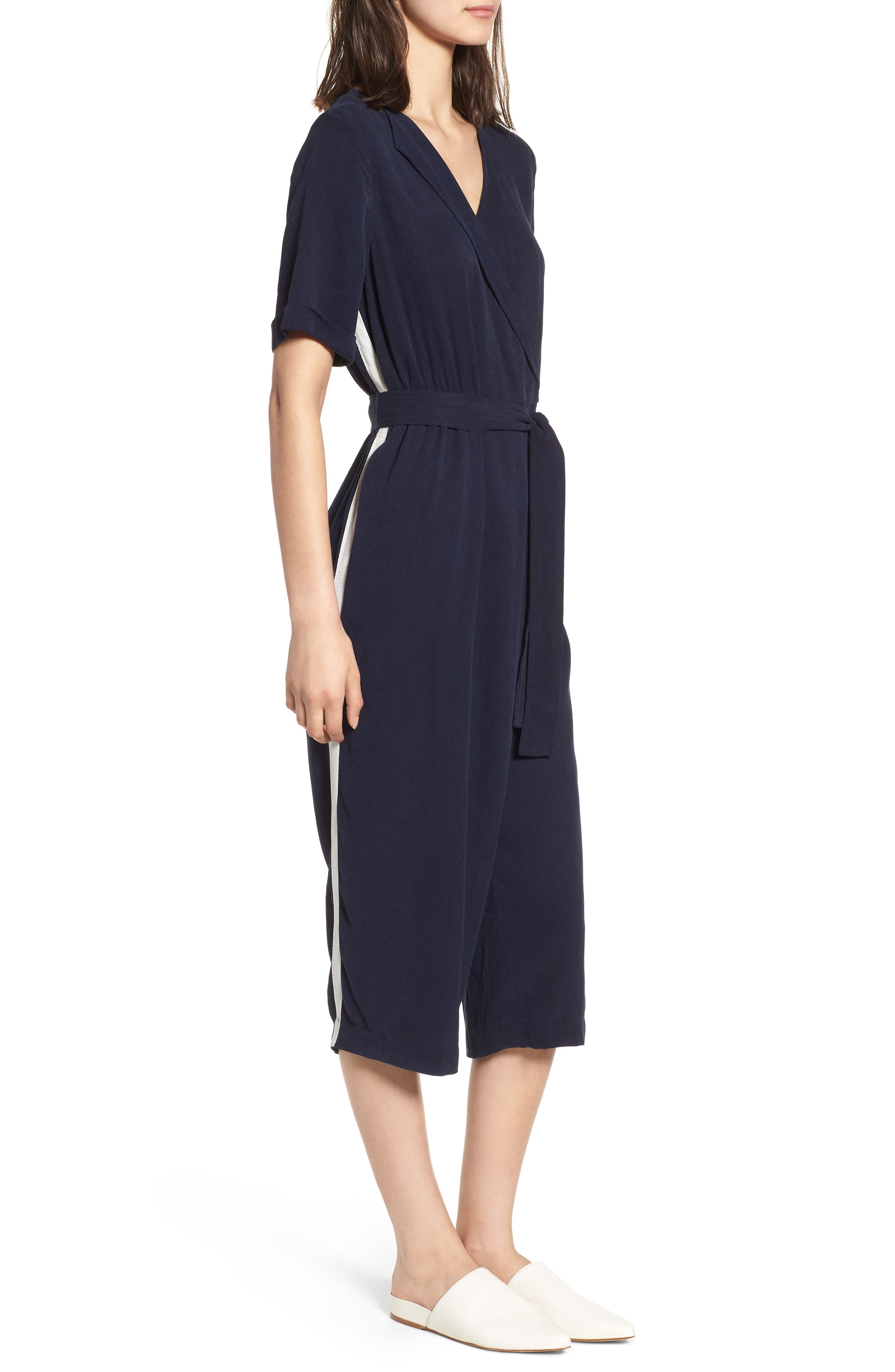 Downstairs Crop Jumpsuit,                             Alternate thumbnail 3, color,                             Navy