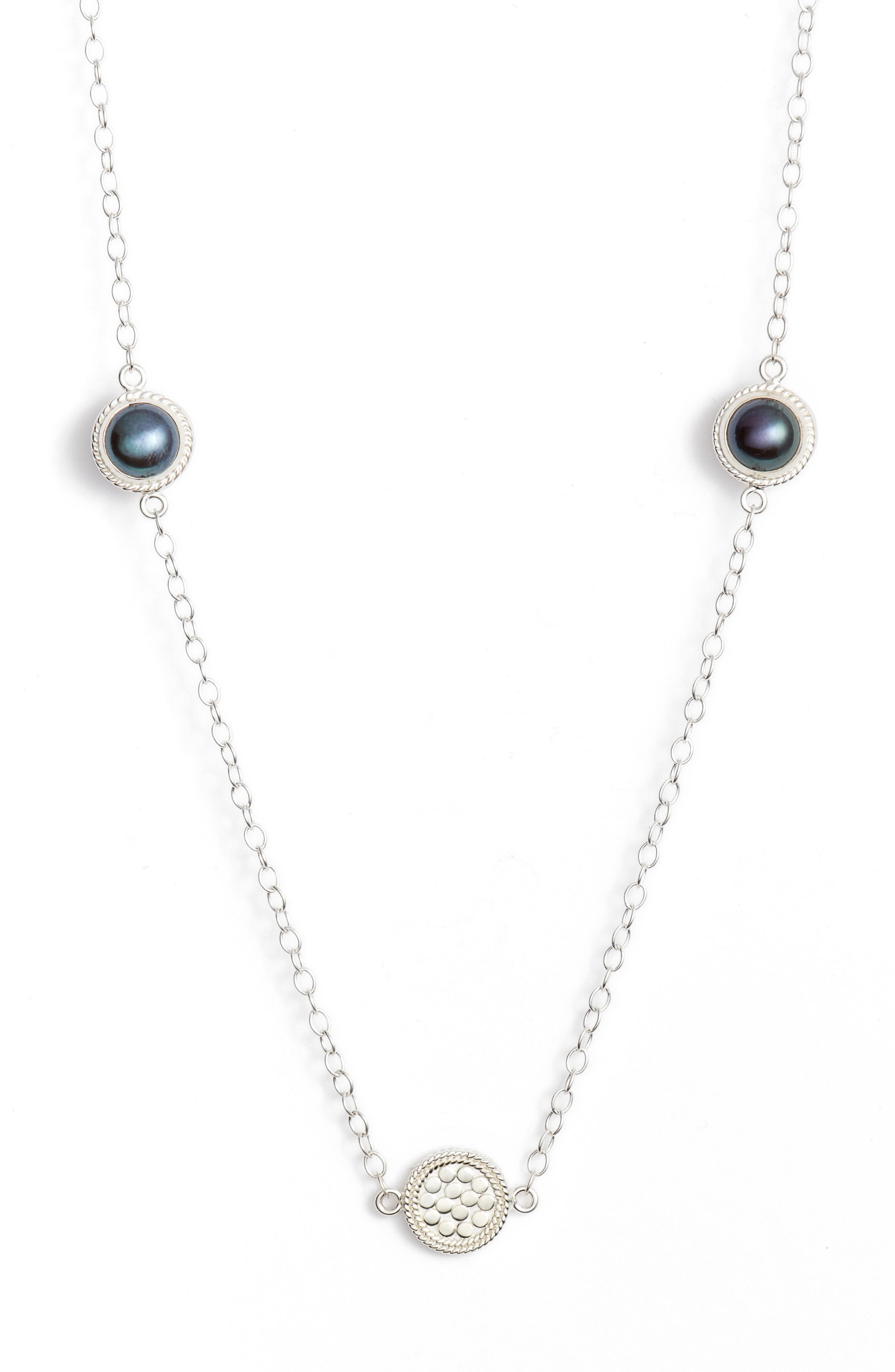 Genuine Blue Pearl Station Necklace,                             Alternate thumbnail 2, color,                             Silver/ Blue Pearl
