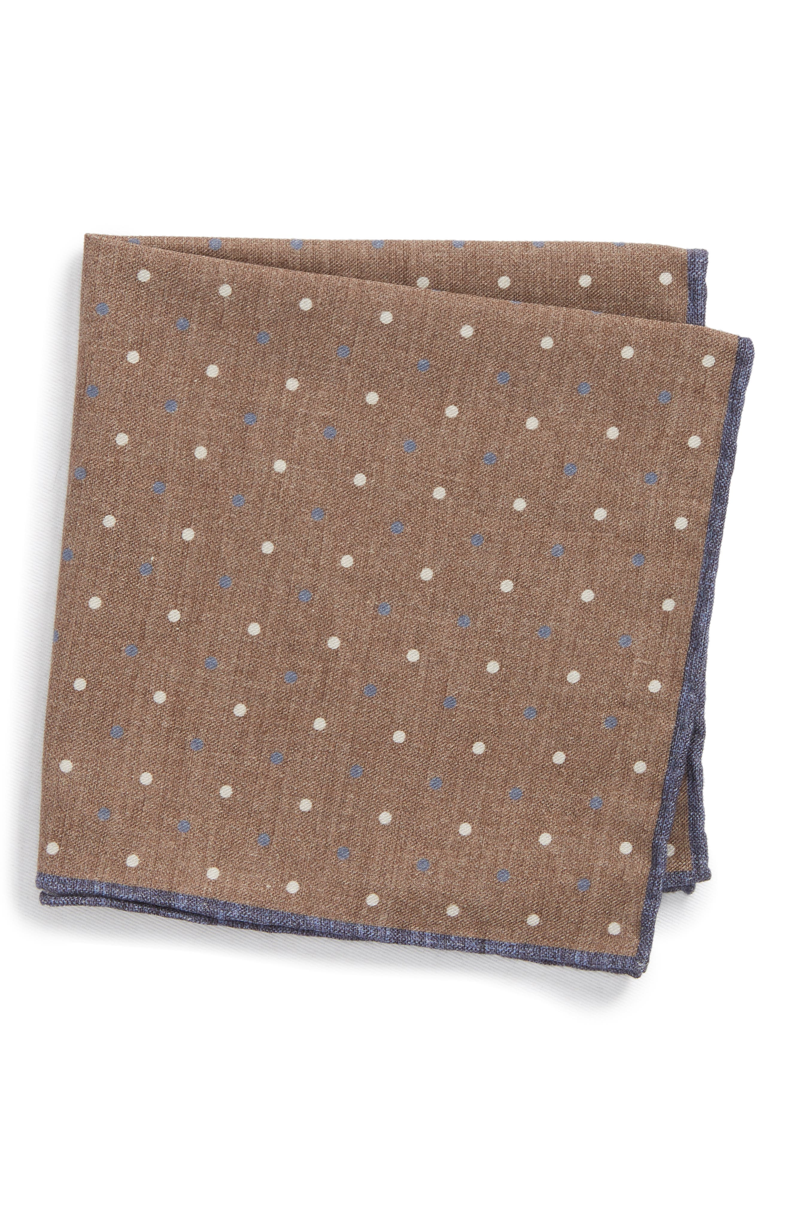 Dotted Wool & Cotton Pocket Square,                         Main,                         color, Dark Brown