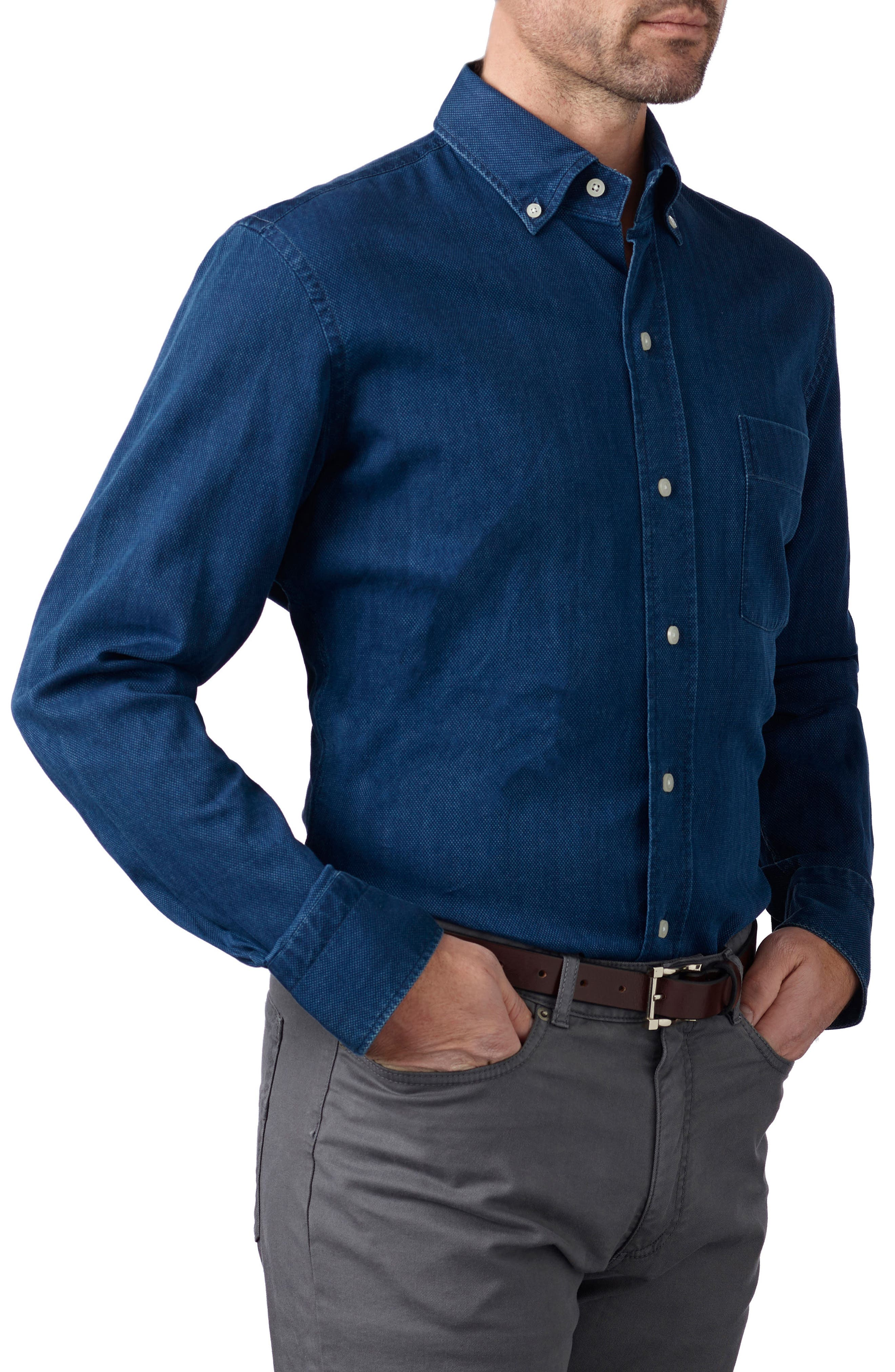 Ledbury Indigo Arnett Slim Fit Sport Shirt