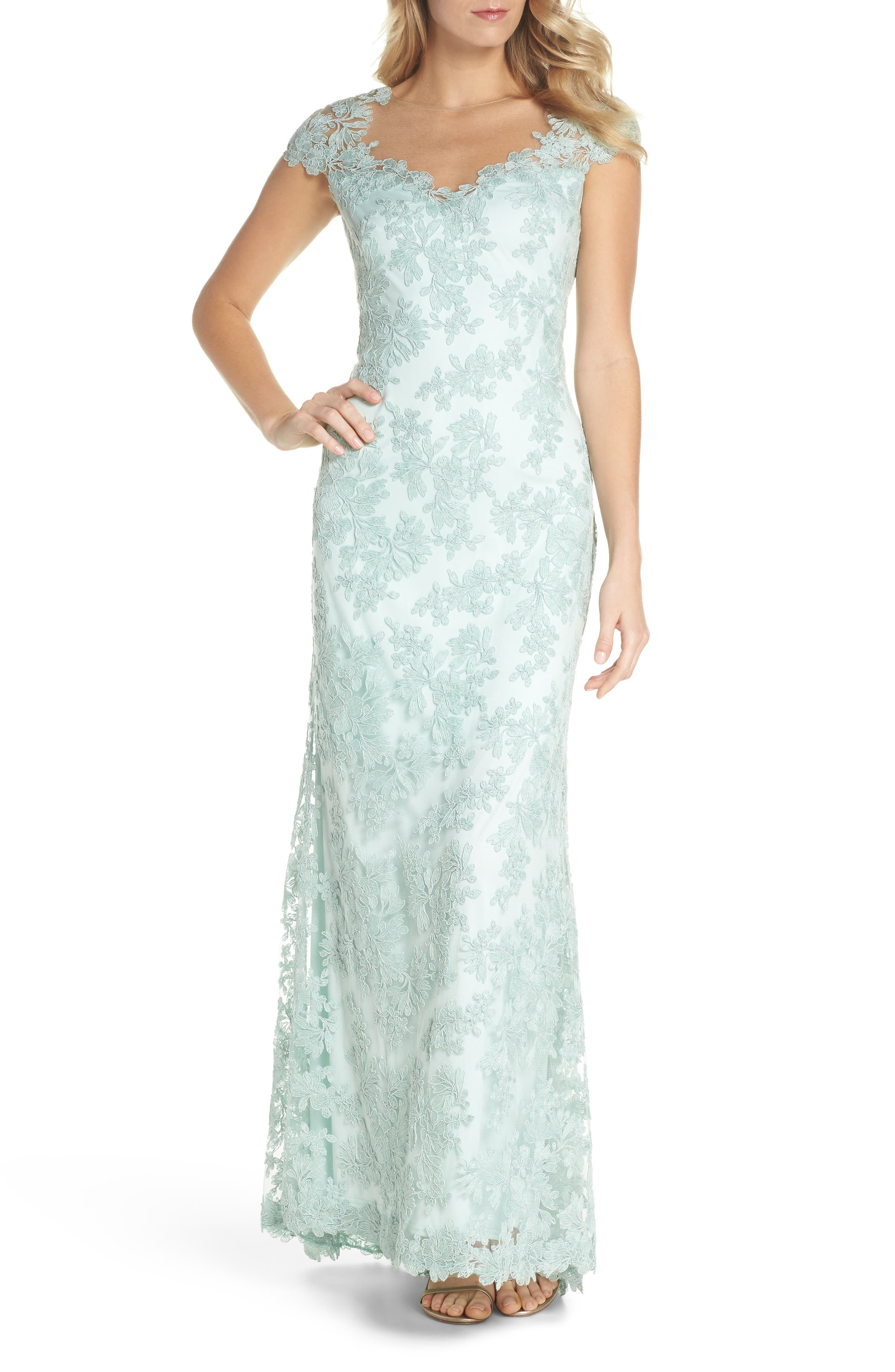 Embroidered Corded Lace Gown,                             Main thumbnail 1, color,                             Mint
