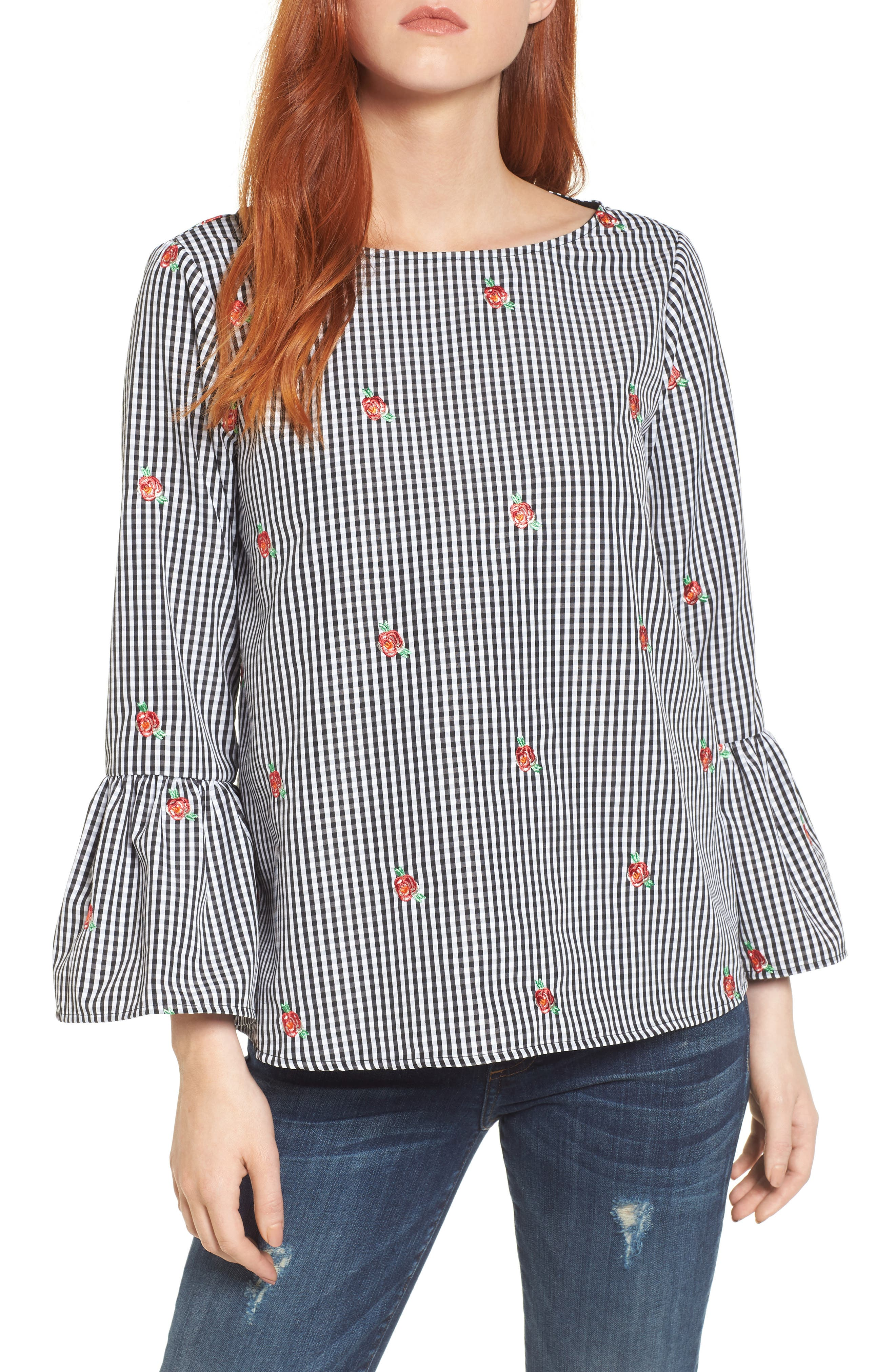 Gingham Bell Sleeve Top,                             Main thumbnail 1, color,                             Black Gingham Yellow Flower
