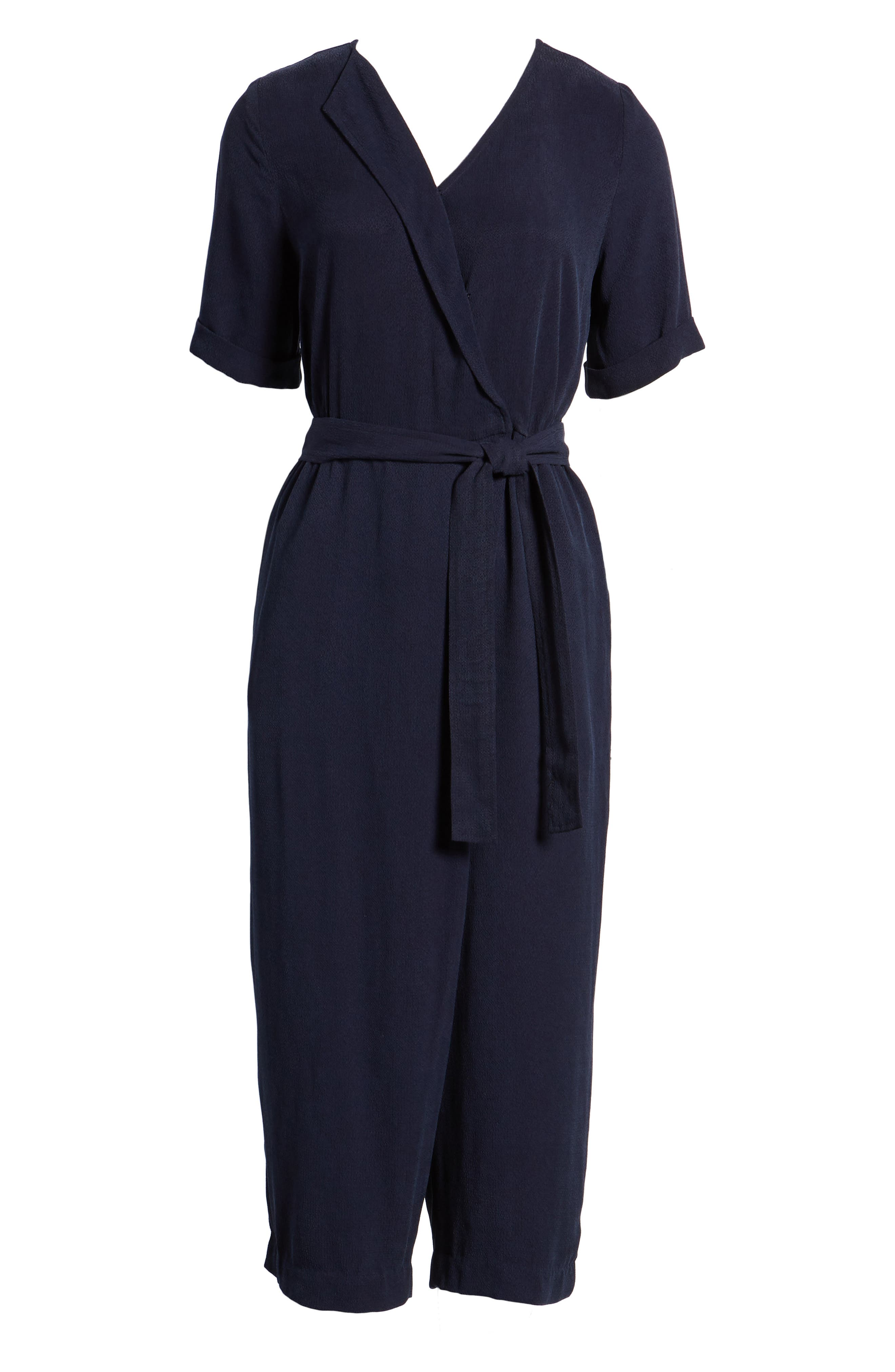Downstairs Crop Jumpsuit,                             Alternate thumbnail 7, color,                             Navy
