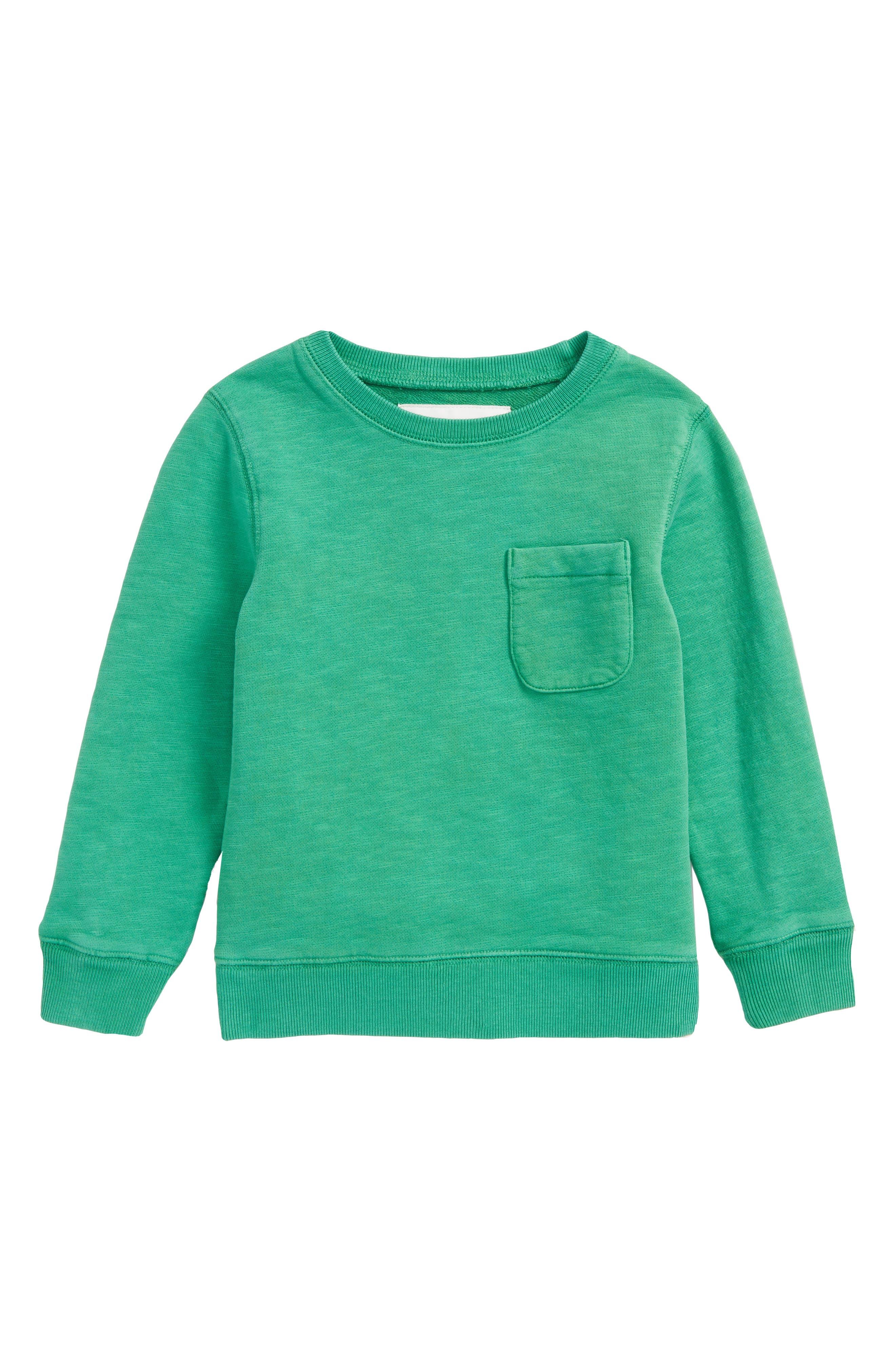 Mini Boden Pocket Crewneck Sweatshirt (Toddler Boys, Little Boys & Big Boys)