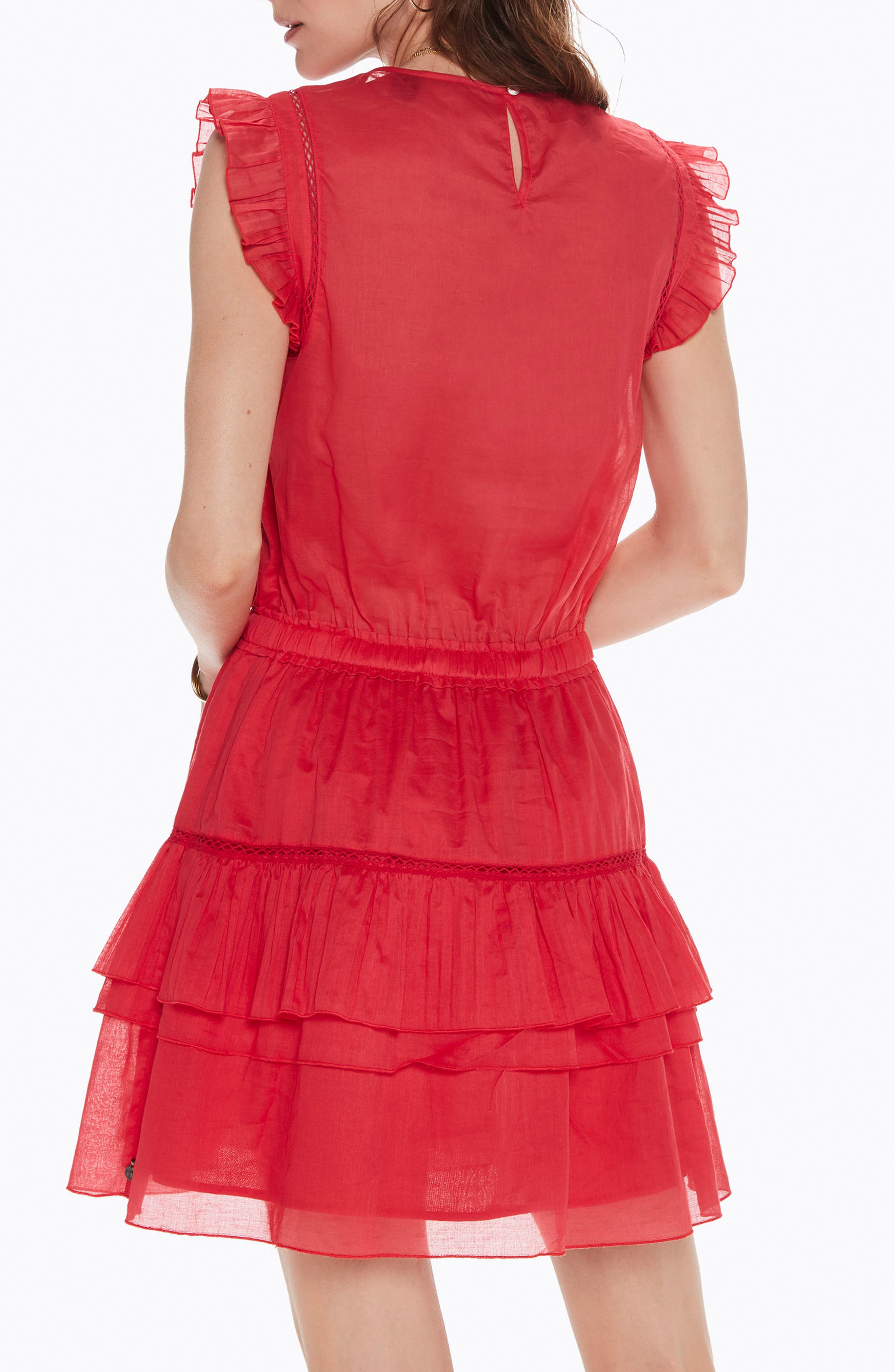 Tiered Sleeveless Dress,                             Alternate thumbnail 2, color,                             Color 0406 Coral