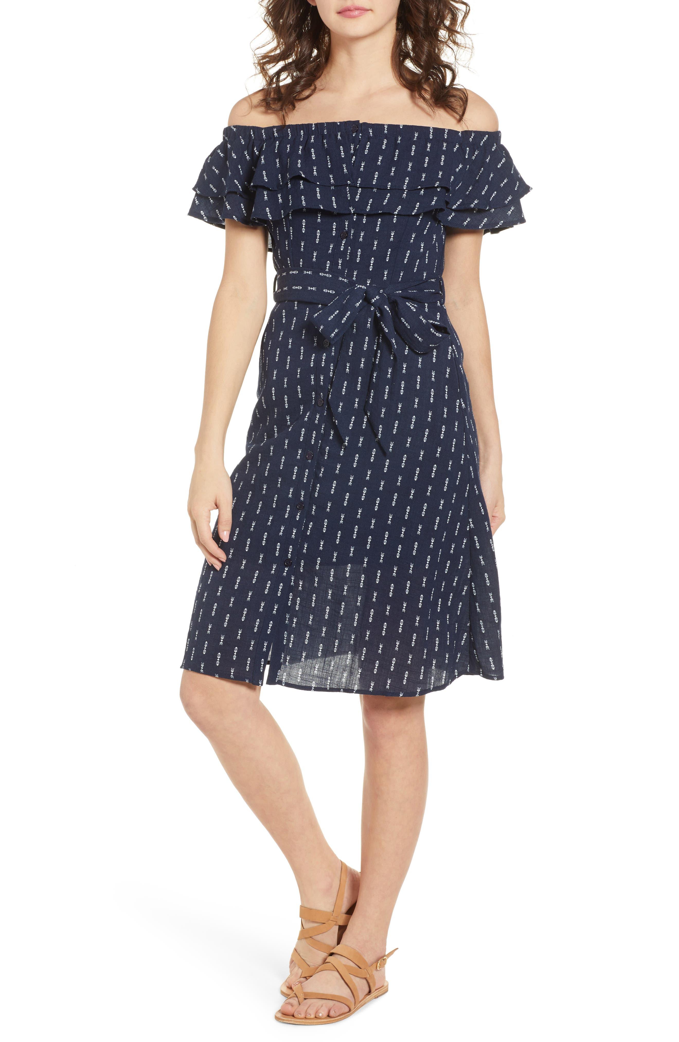 Melrose Off the Shoulder Dress,                         Main,                         color, Navy