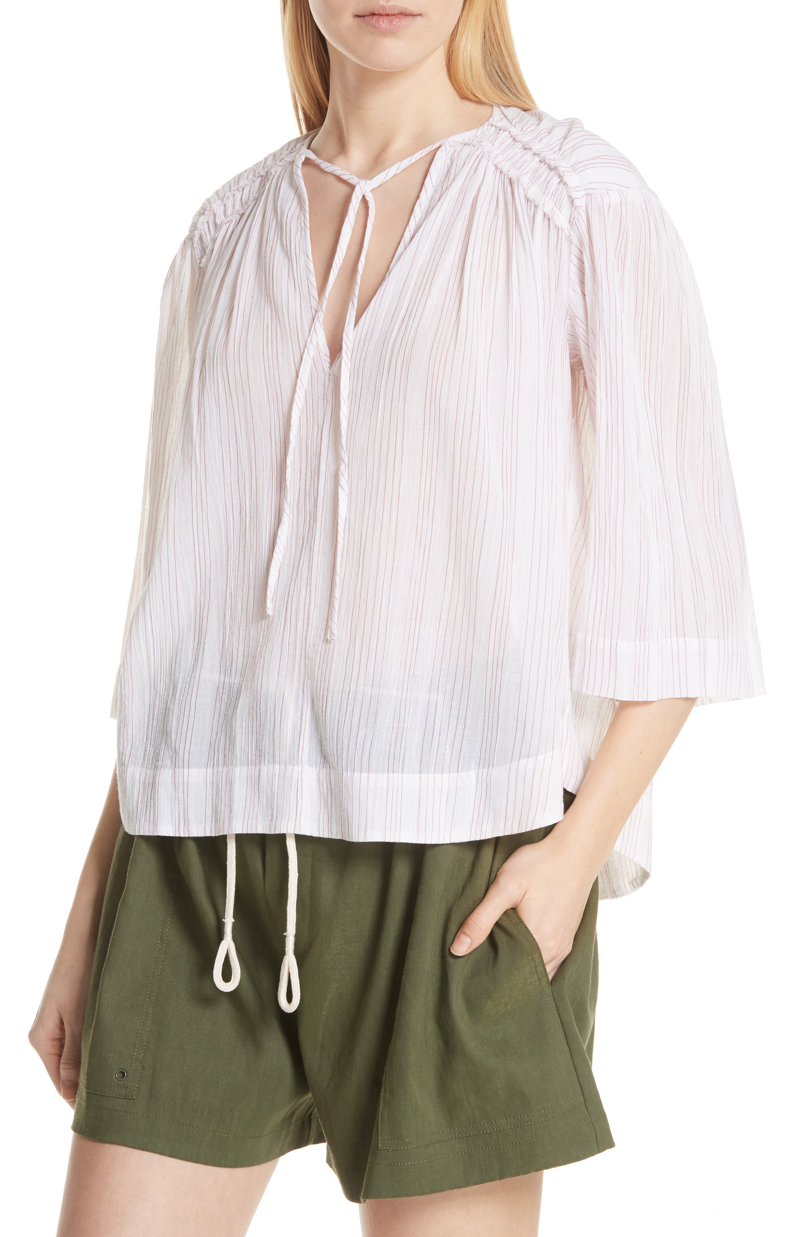 Variegated Stripe Crinkle Cotton Top,                             Alternate thumbnail 4, color,                             Optic White/ Rosewood
