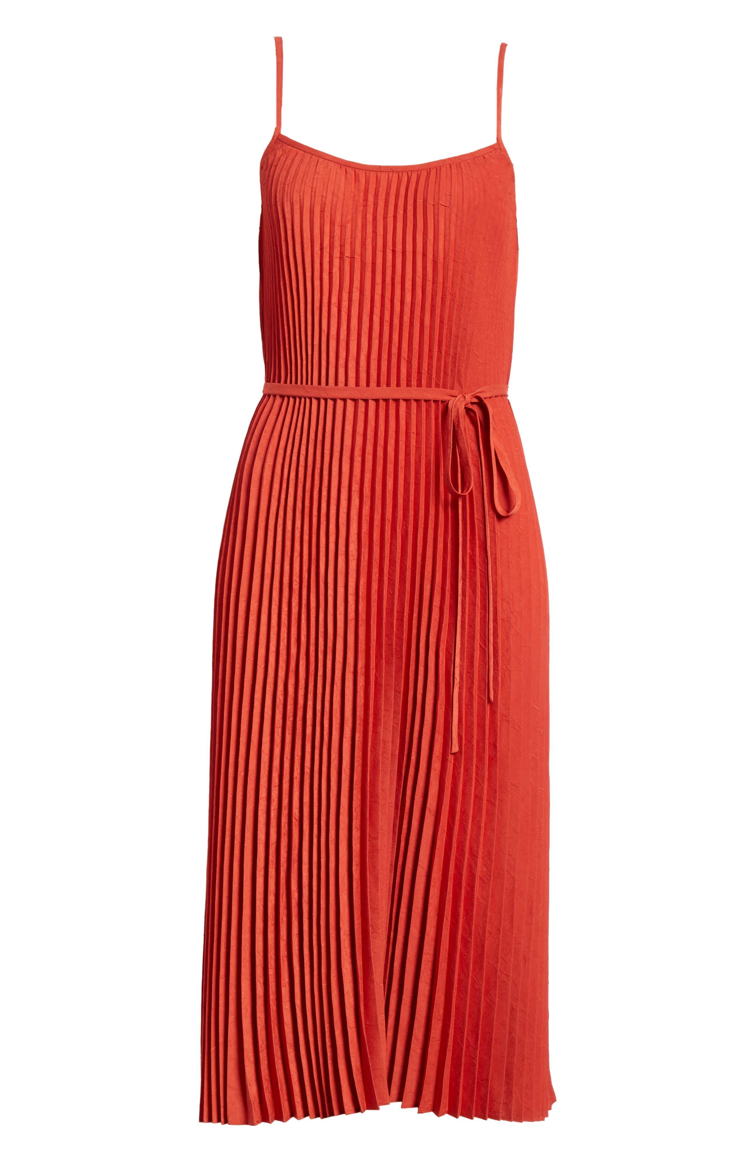 Pleated Cami Dress,                             Alternate thumbnail 6, color,                             Paprika