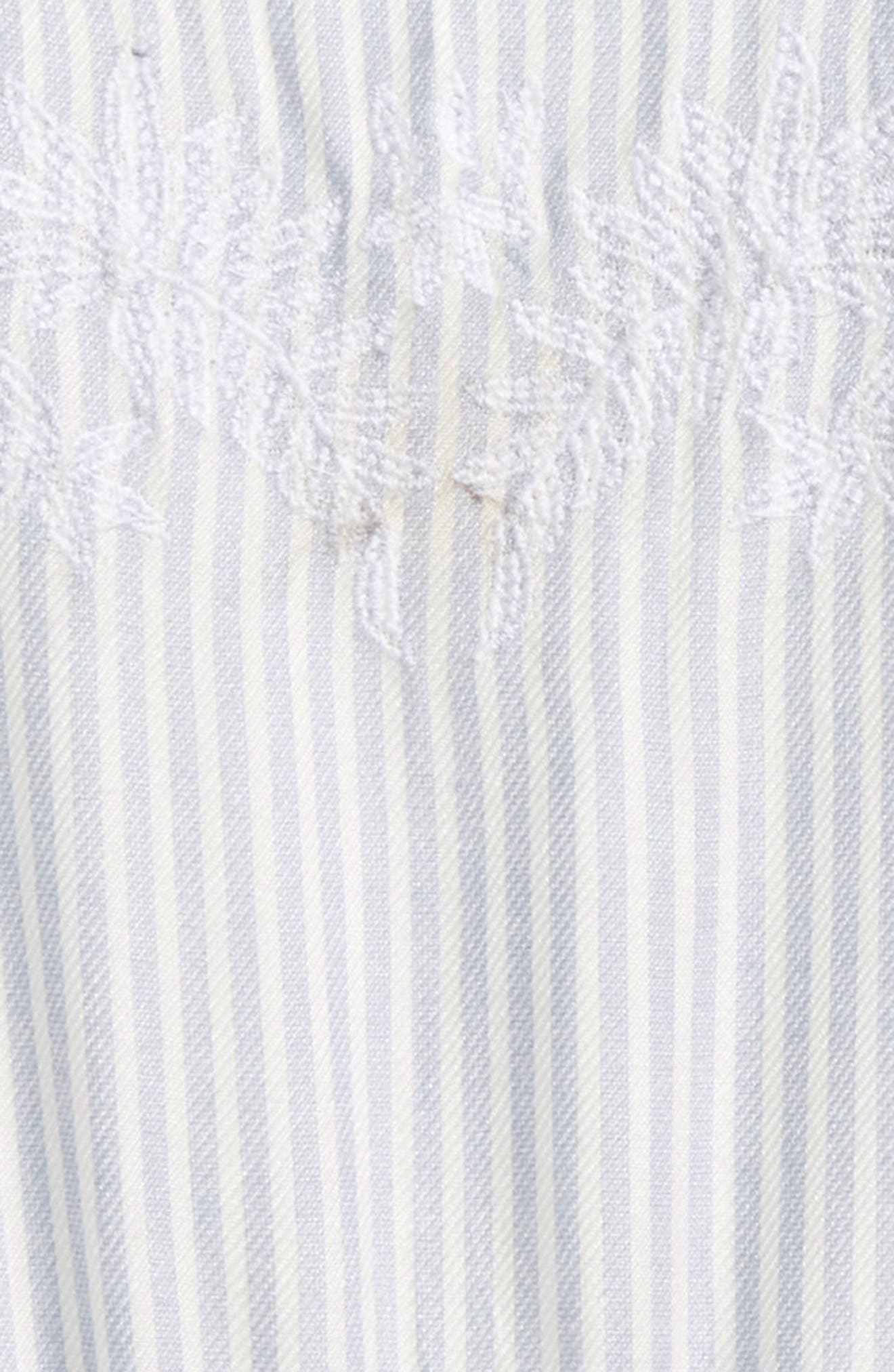 Lemonade Stripe Romper,                             Alternate thumbnail 3, color,                             Bleached Periwinkle