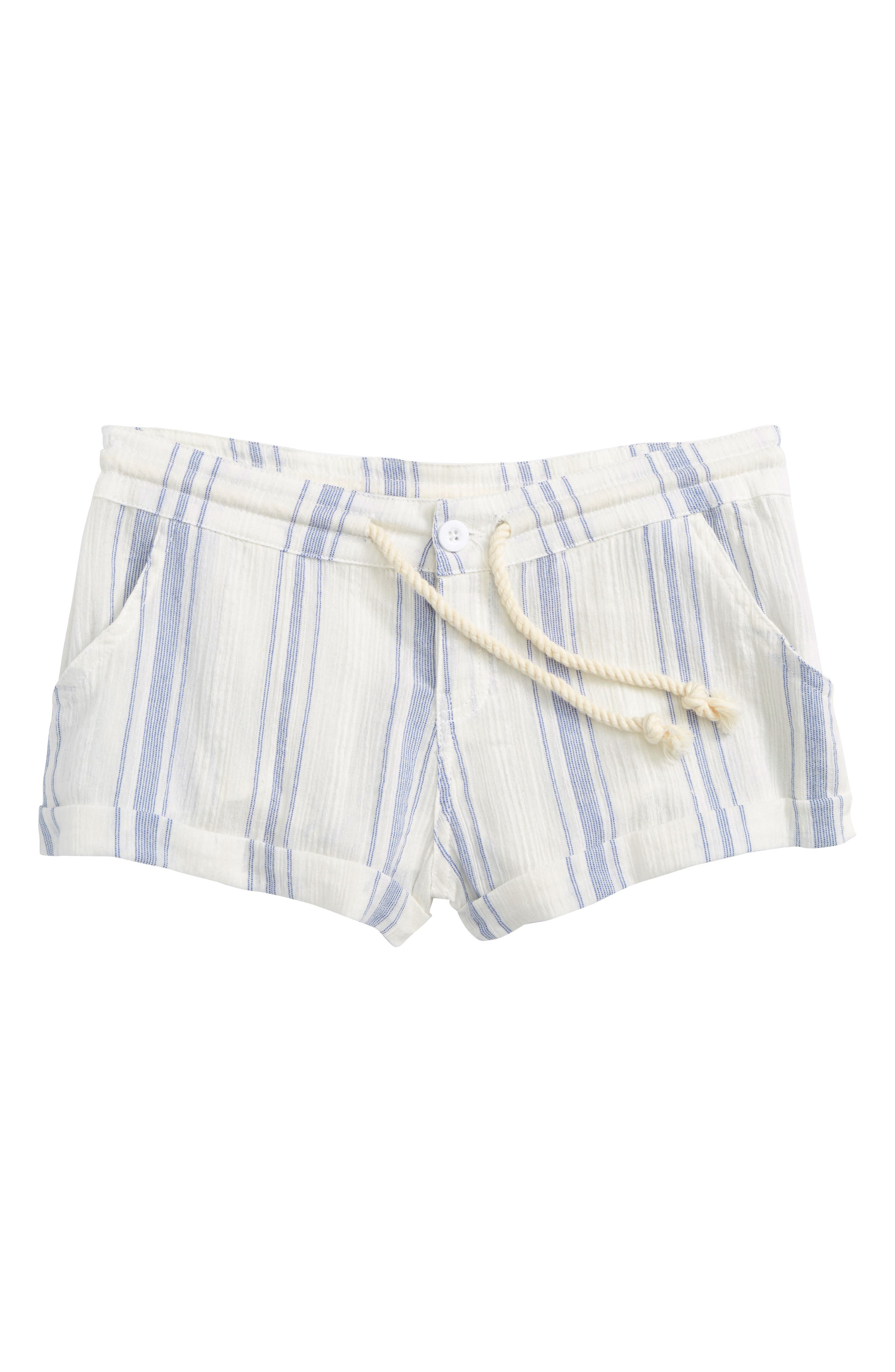 Krissy Stripe Cotton Shorts,                         Main,                         color, White