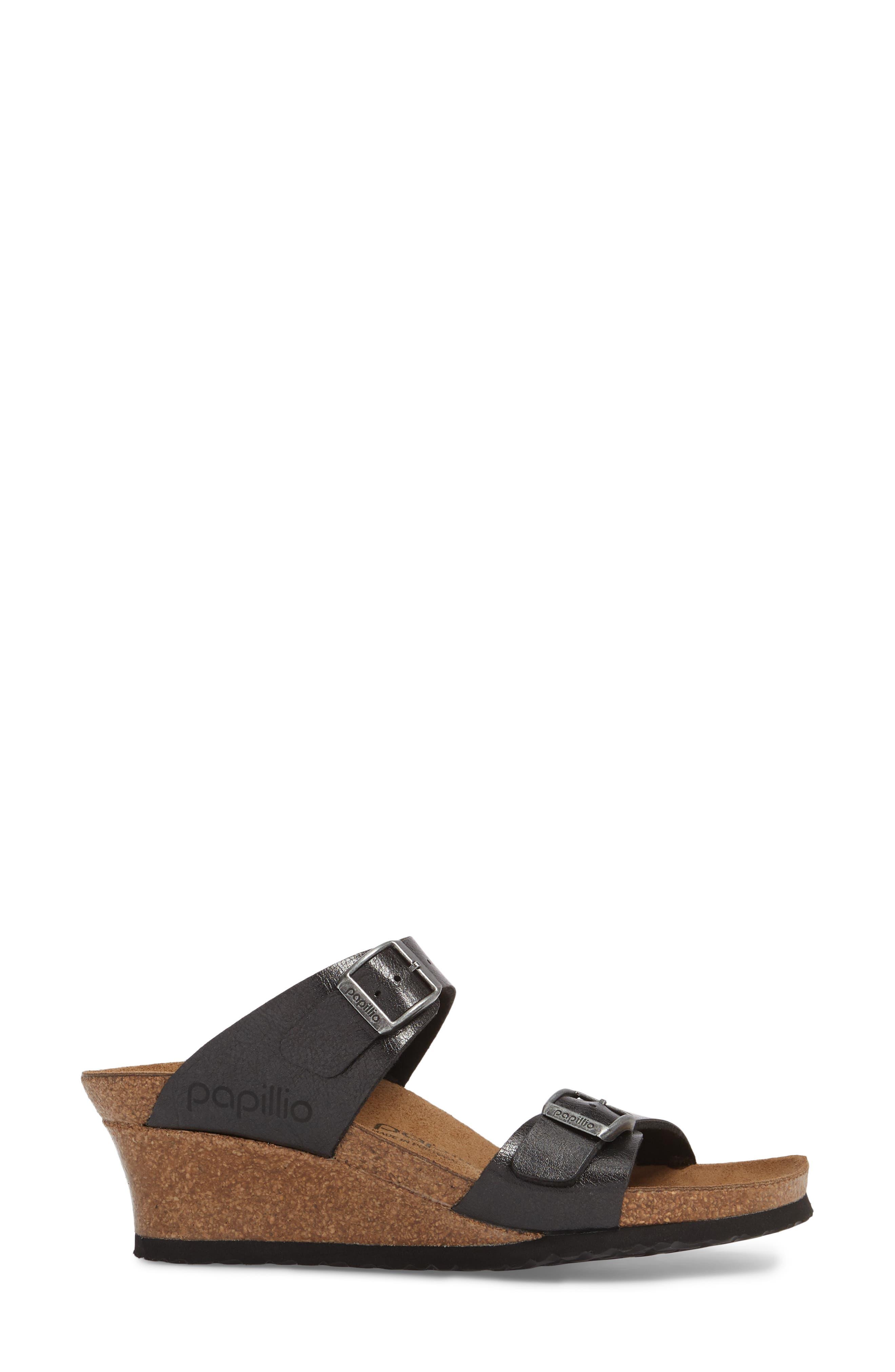 Papillio by Birkenstock Dorothy Wedge Slide Sandal,                             Alternate thumbnail 3, color,                             Graceful Licorice Leather