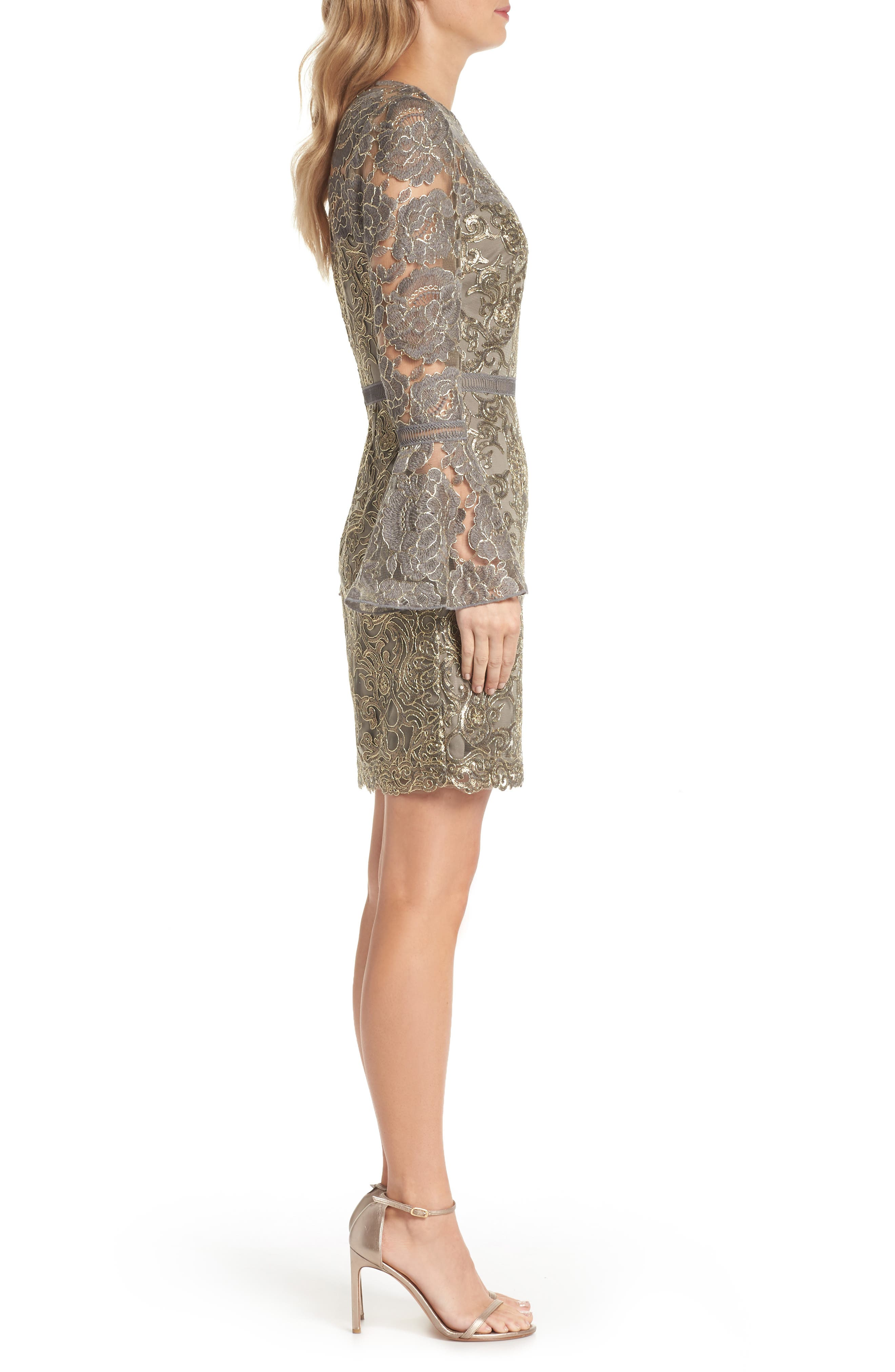Embroidered Sequin Sheath Dress,                             Alternate thumbnail 3, color,                             Smoke Pearl