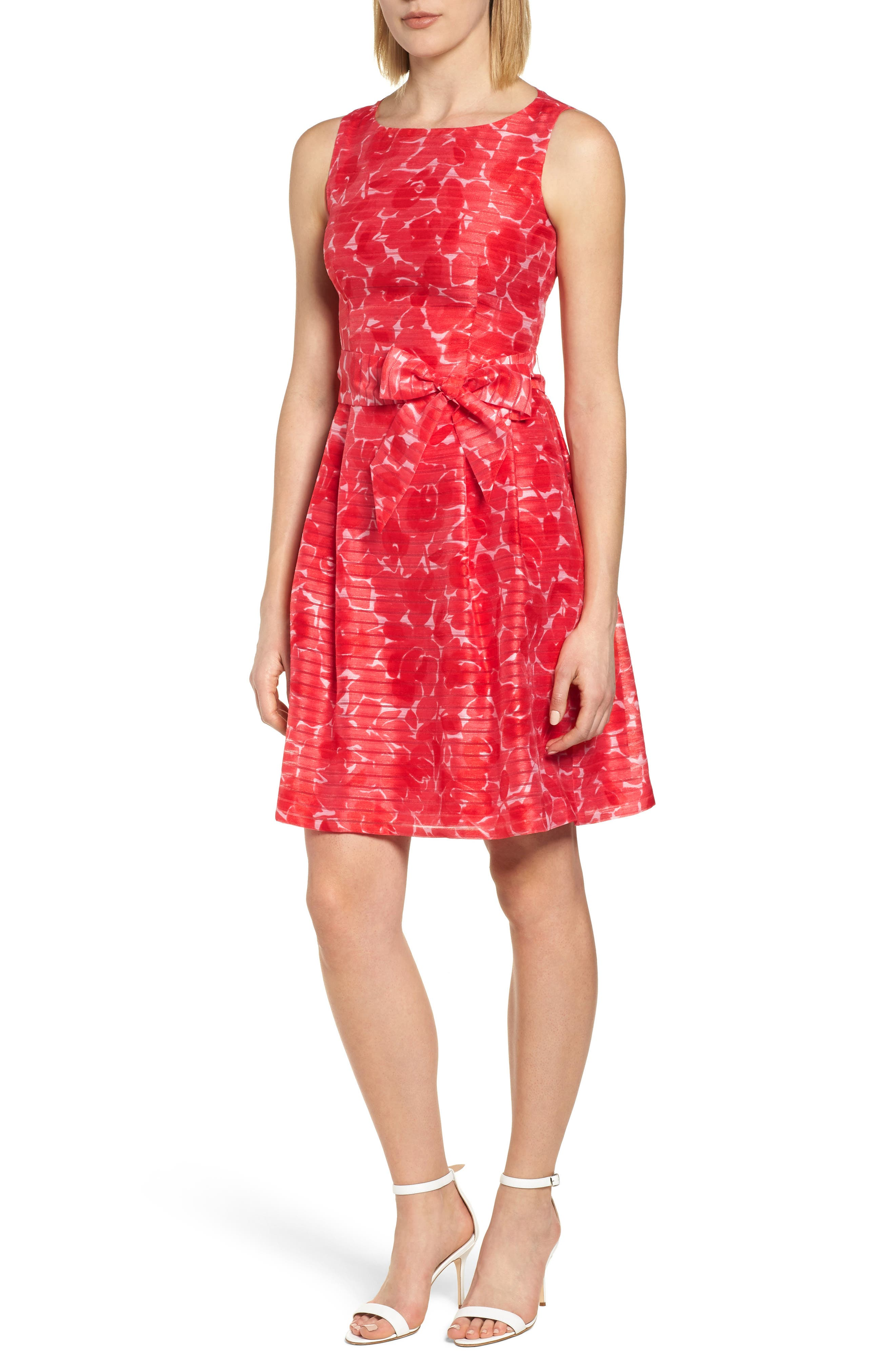New York Rosewater Shadow Fit & Flare Dress,                             Main thumbnail 1, color,                             Tomato Combo