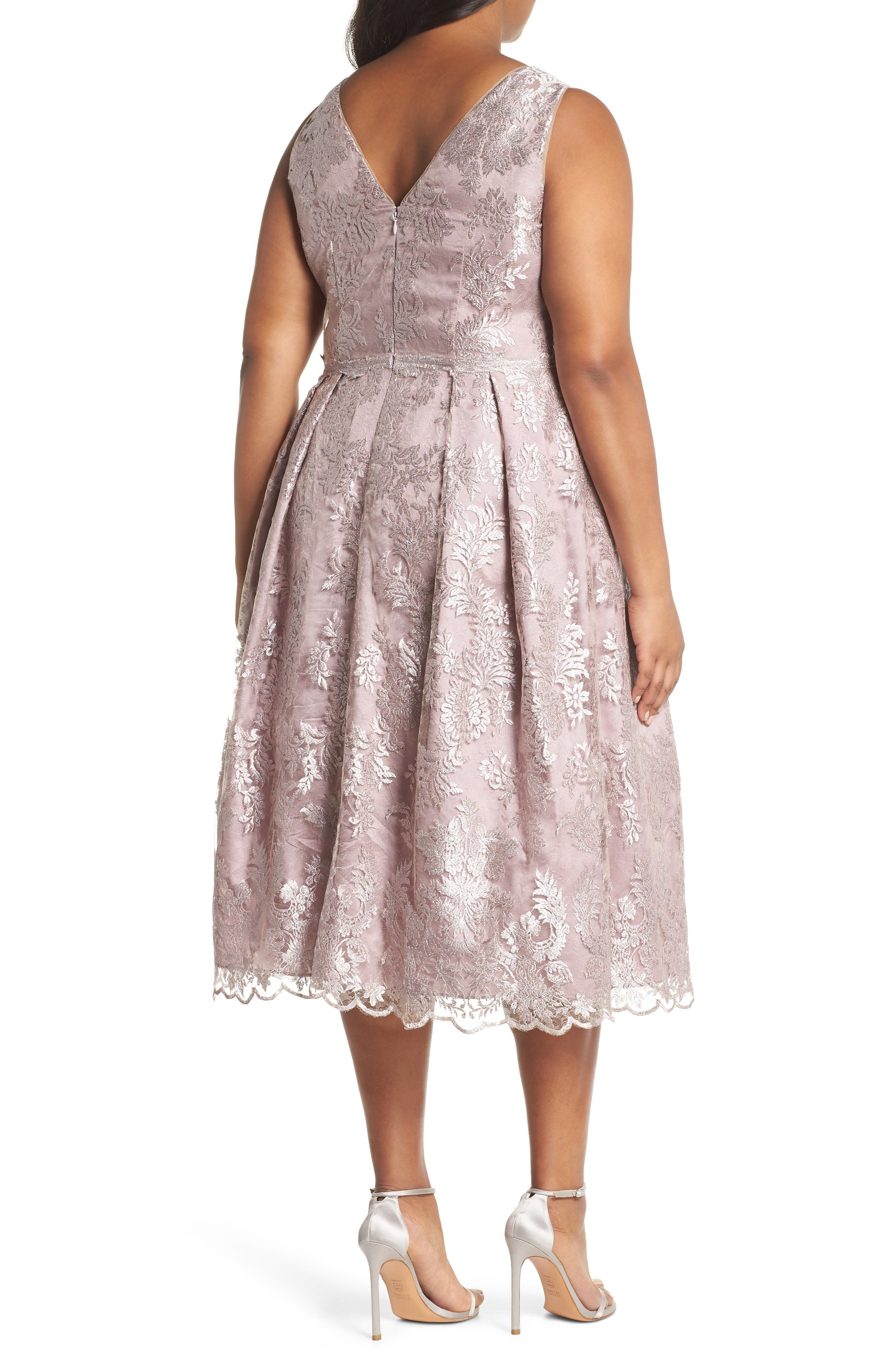 Metallic Embroidered Tea Length Dress,                             Alternate thumbnail 2, color,                             Lily Rose