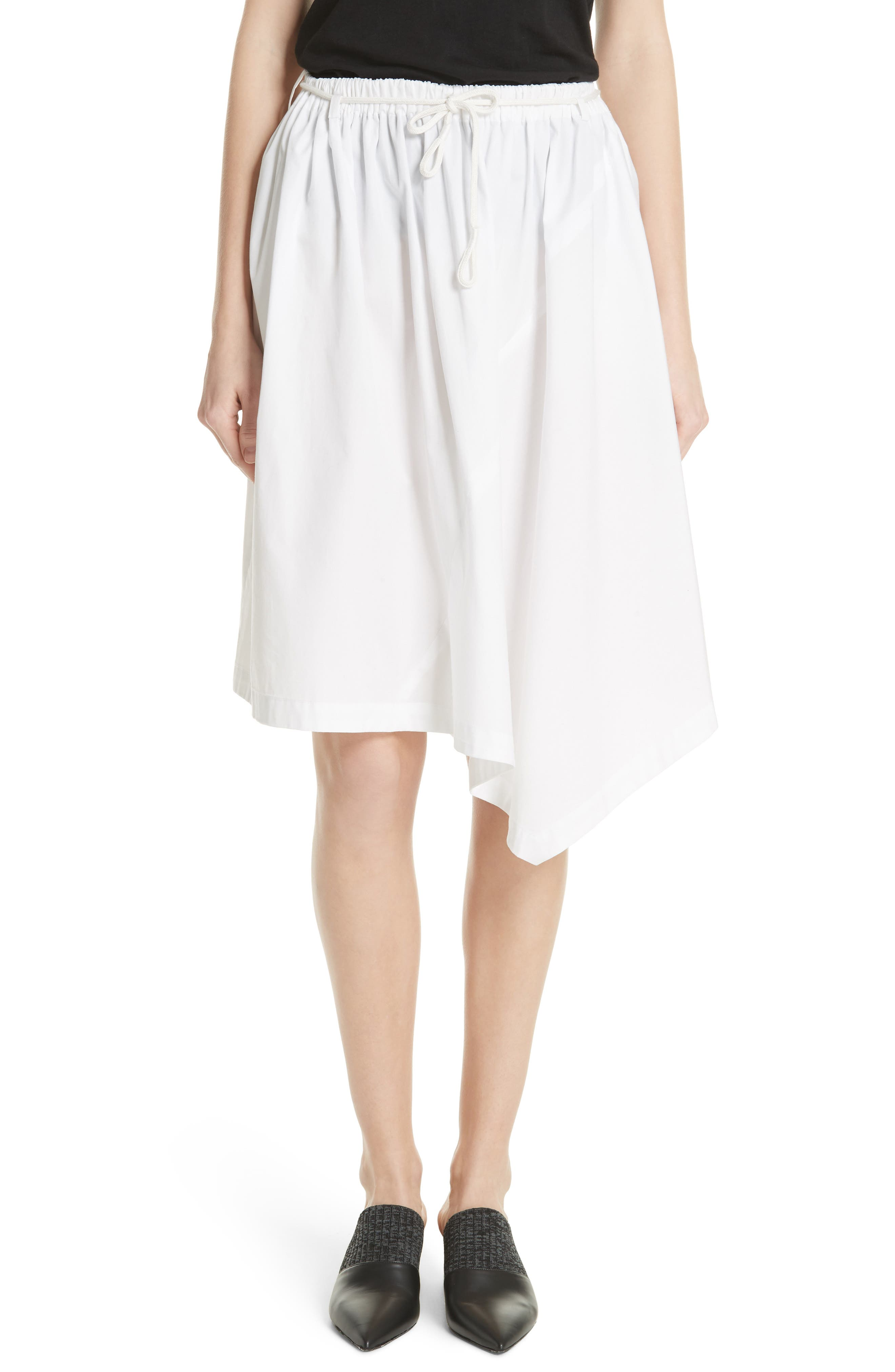 Asymmetrical Drawstring Cotton Skirt,                         Main,                         color, Optic White