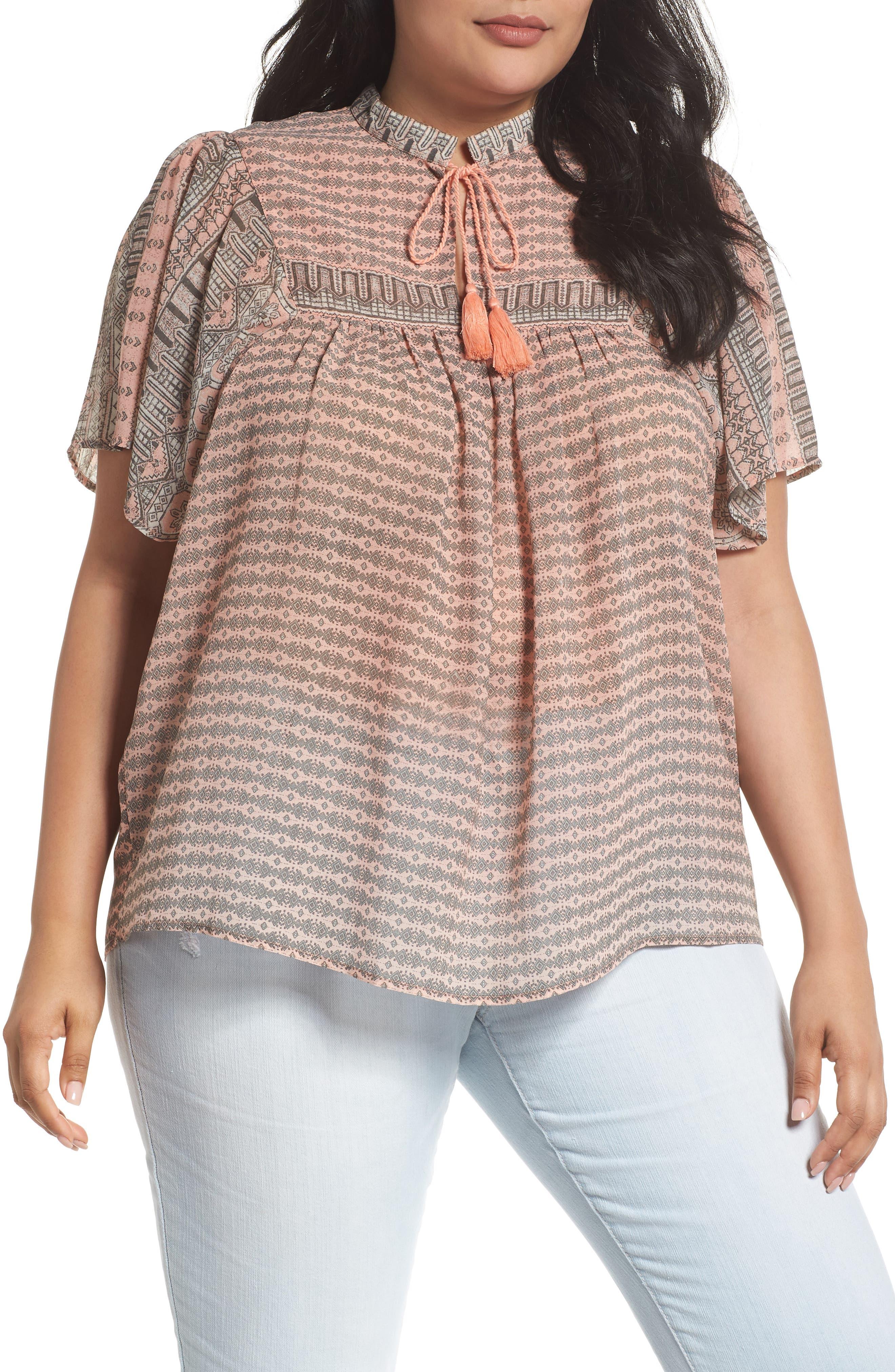 Short Sleeve Print Peasant Top,                         Main,                         color, Pink Multi