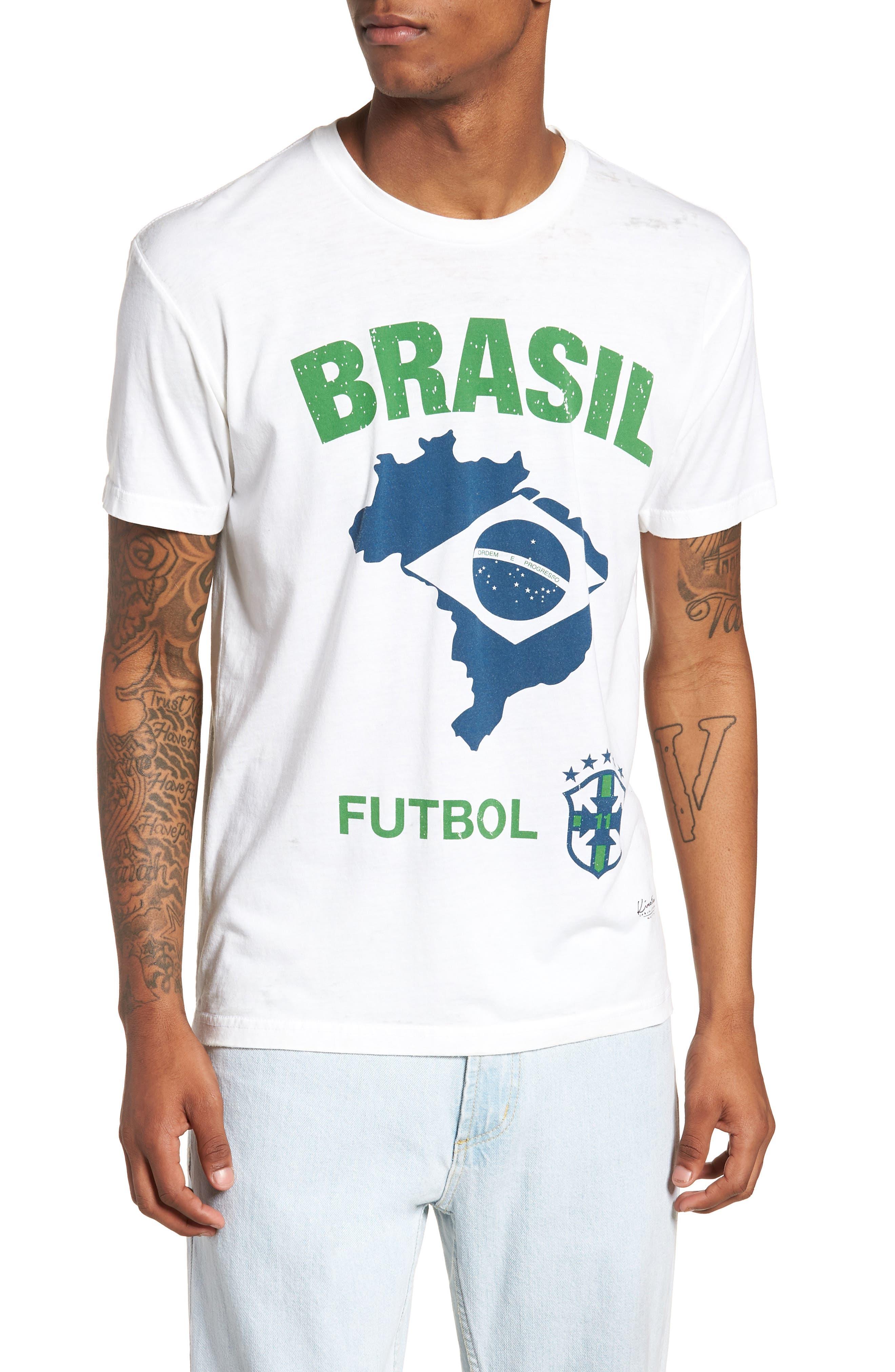 Brasil Futbol T-Shirt,                             Main thumbnail 1, color,                             White