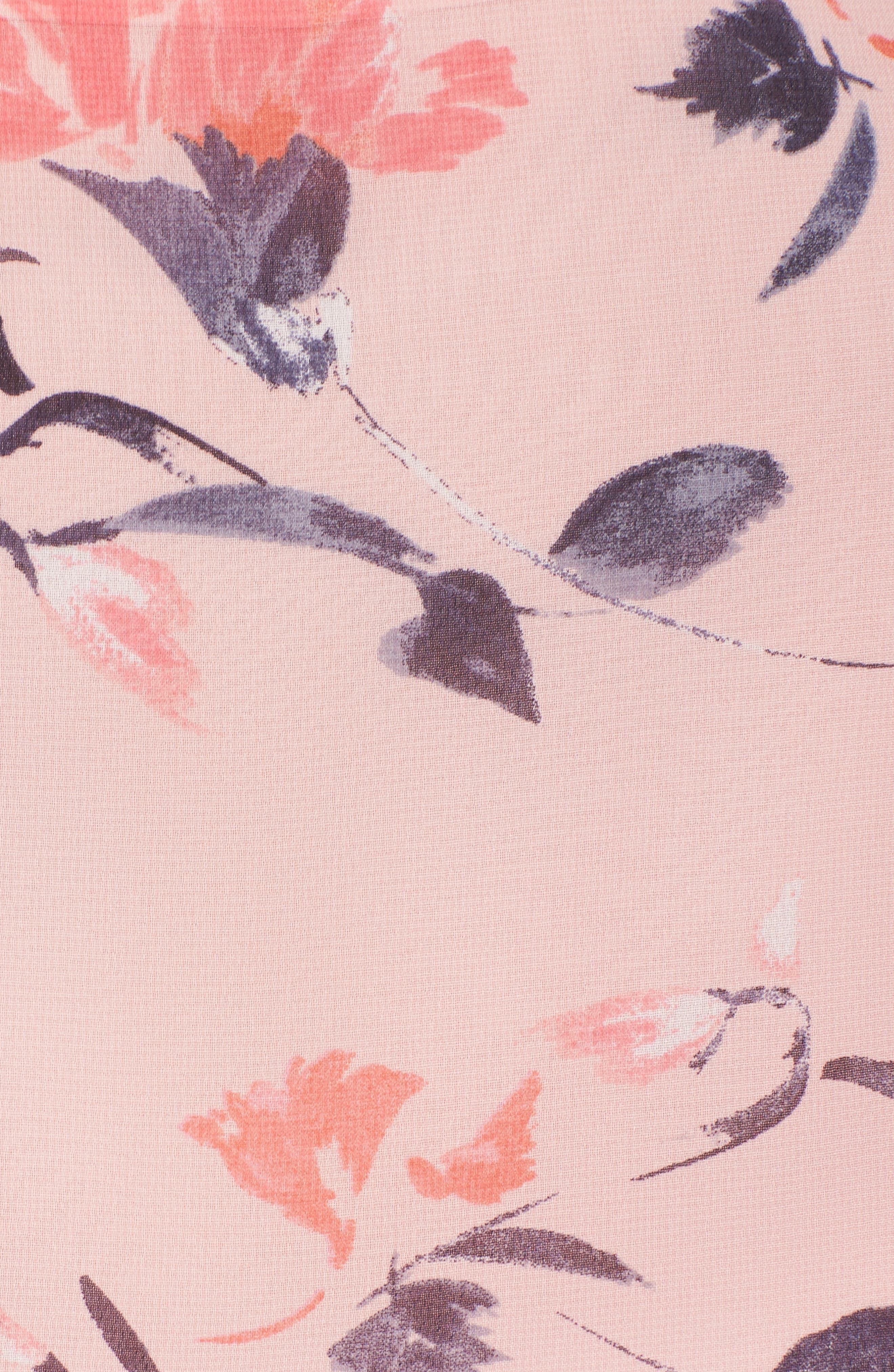 Floral Bell Sleeve Chiffon Dress,                             Alternate thumbnail 6, color,                             Blush