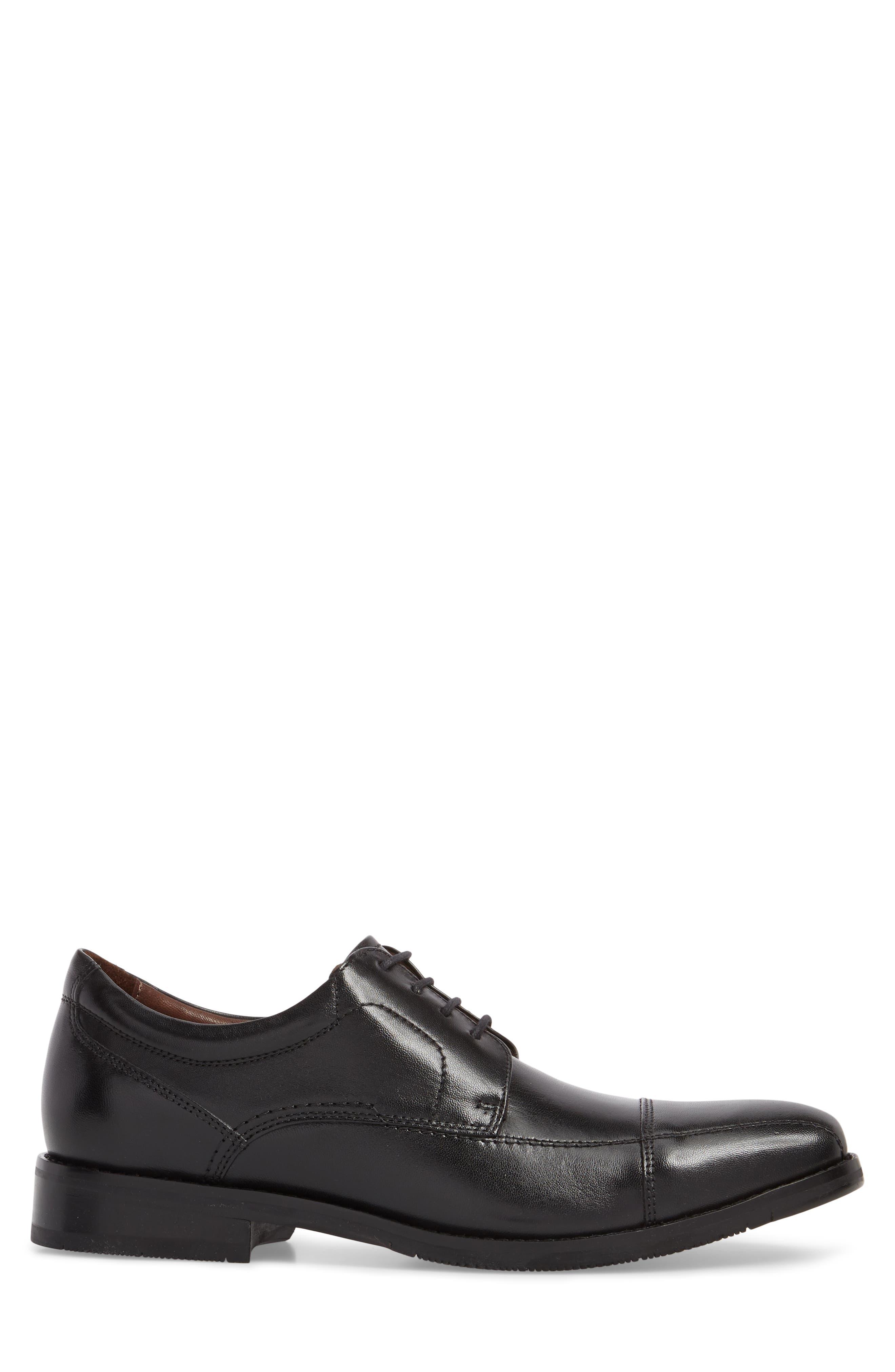 Bartlett Cap Toe Derby,                             Alternate thumbnail 3, color,                             Black Leather