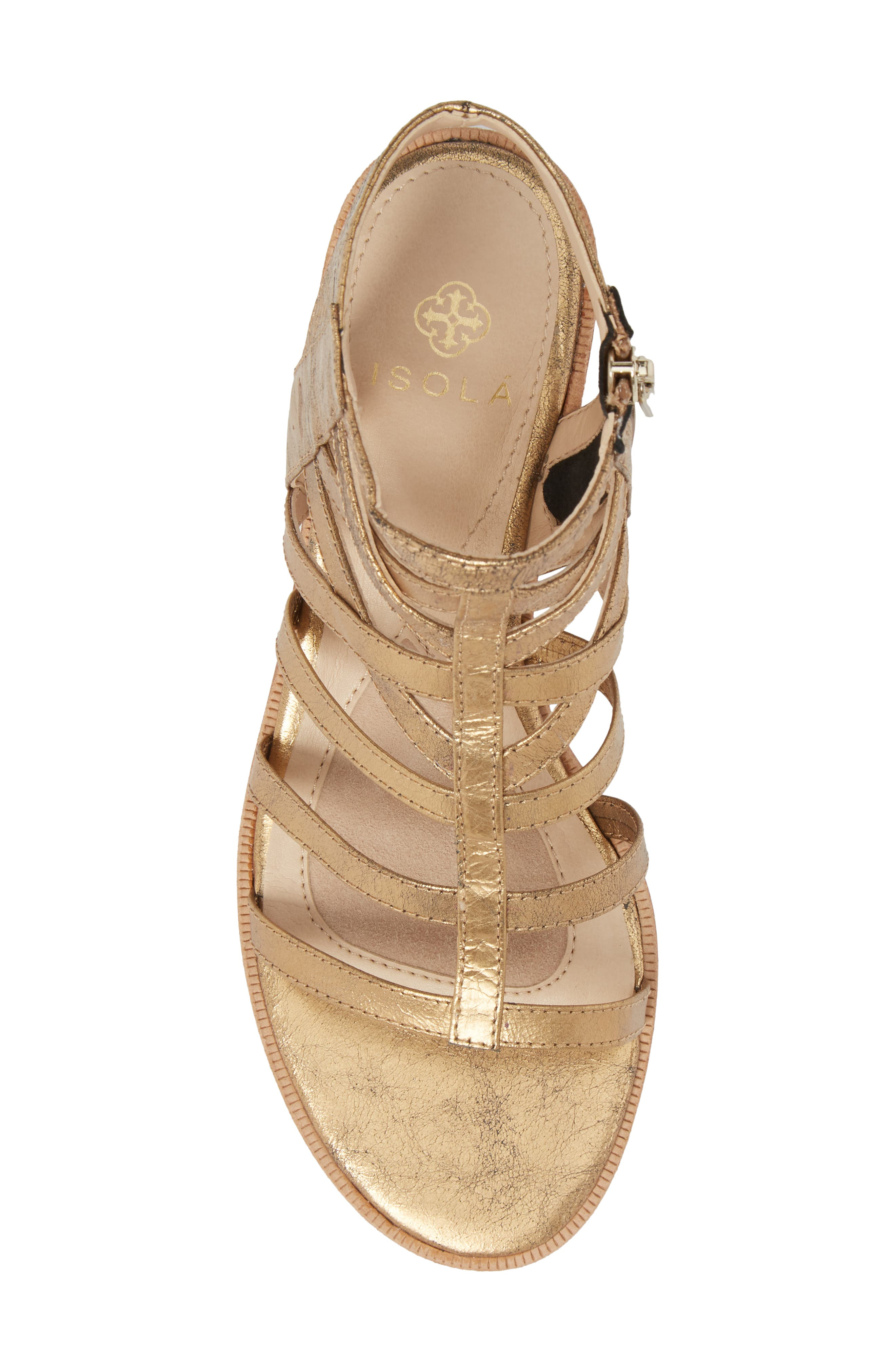 Genesis Cage Sandal,                             Alternate thumbnail 5, color,                             Old Gold Leather