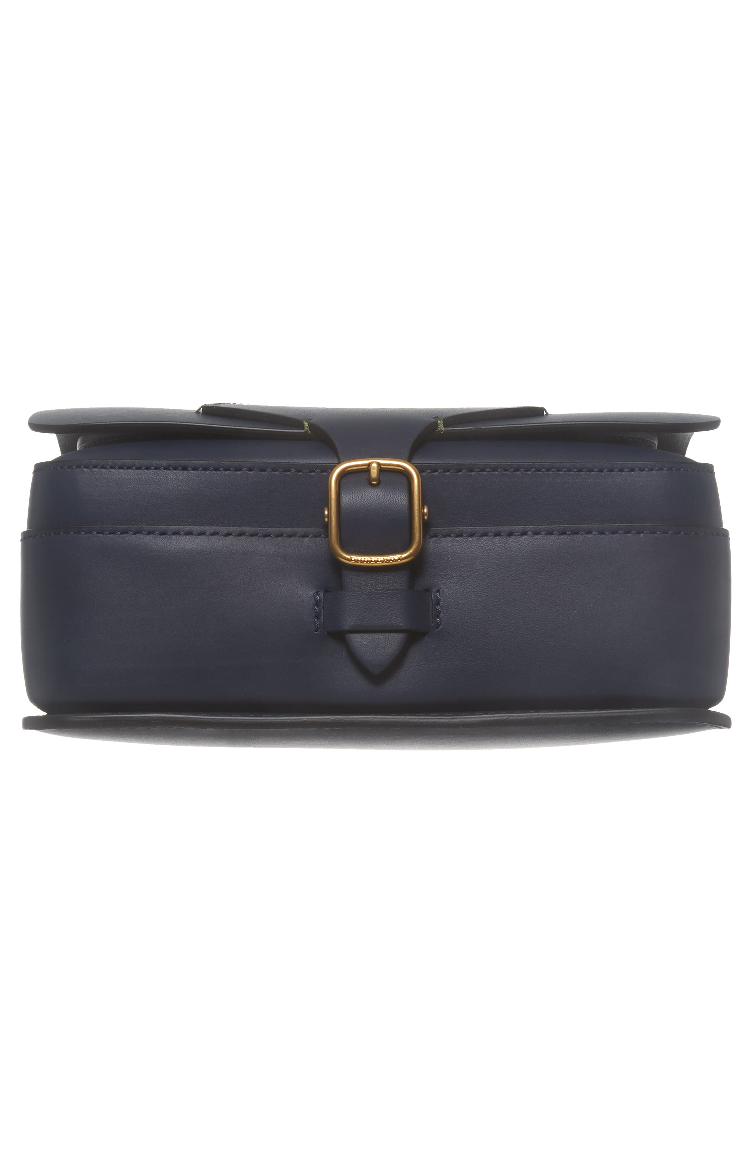 Large Square Leather Shoulder Bag,                             Alternate thumbnail 6, color,                             Mid Indigo