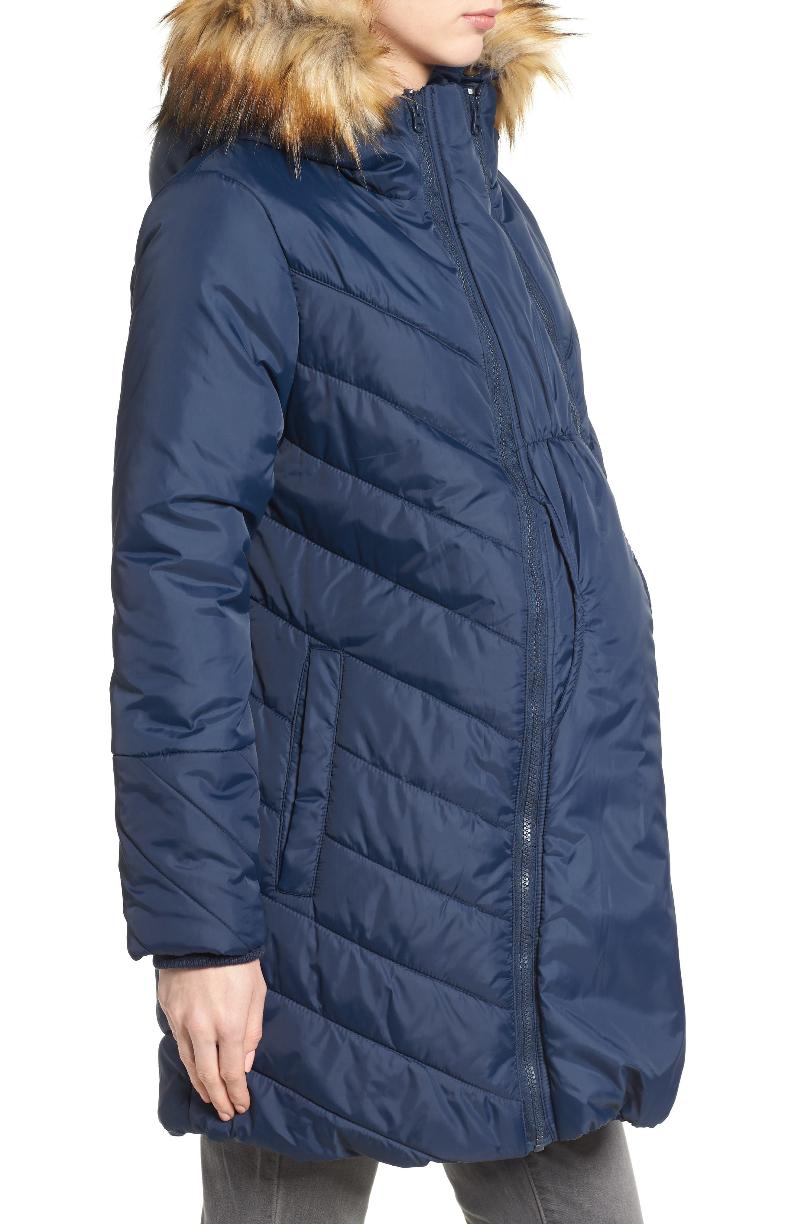 Faux Fur Trim Convertible Puffer 3-in-1 Maternity Jacket,                             Alternate thumbnail 4, color,                             Navy