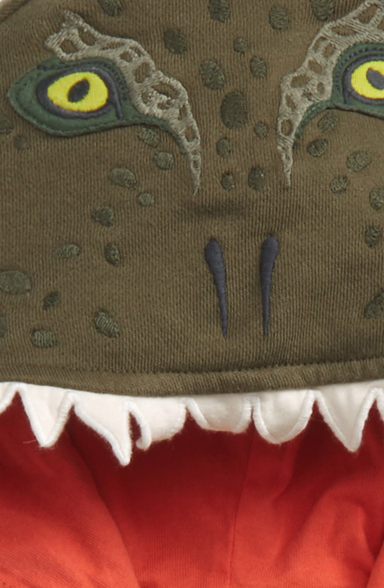 Dino Full Zip Hoodie,                             Alternate thumbnail 2, color,                             Khaki Green Dinosaur