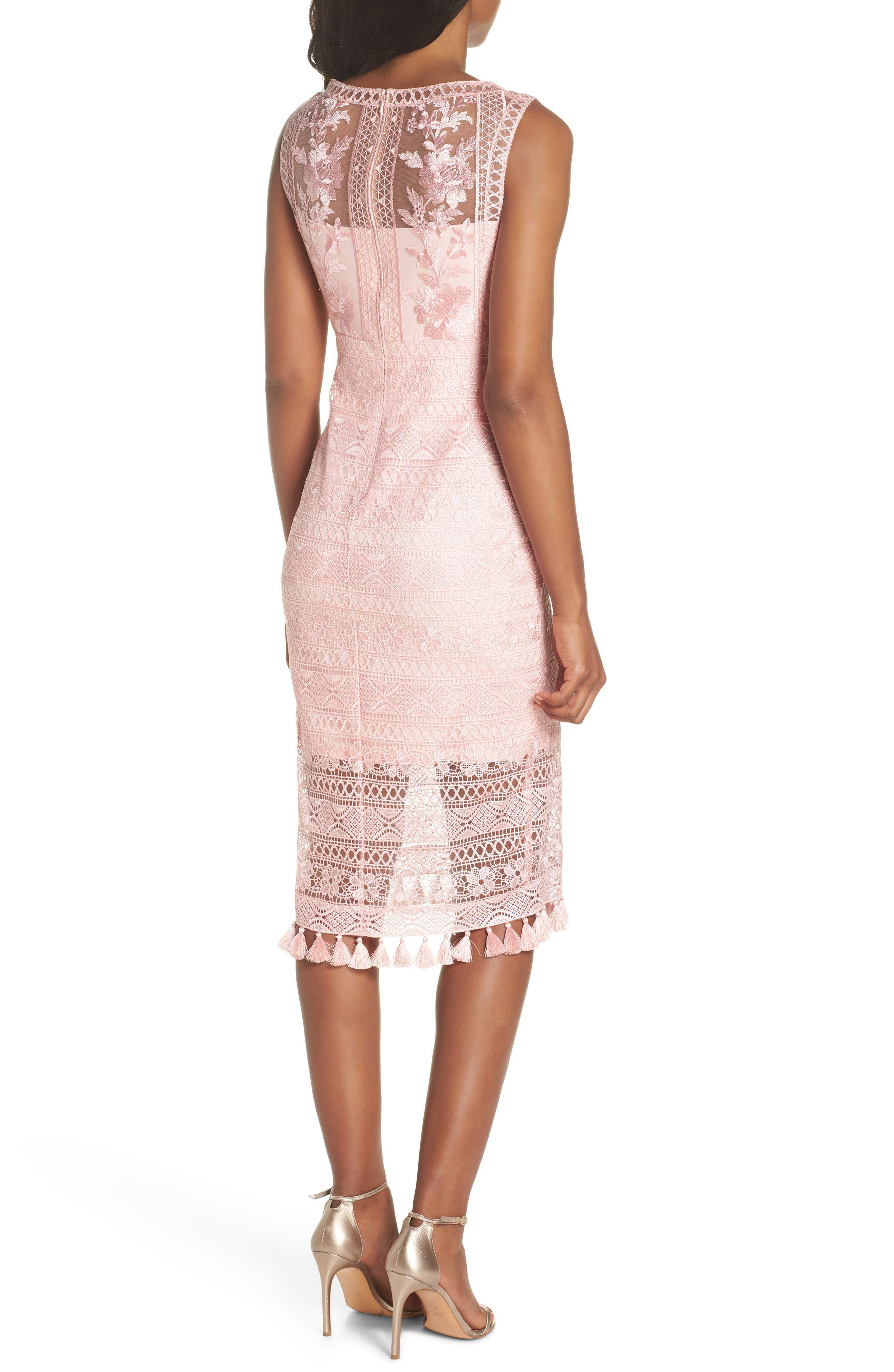 Embroidered Lace Sheath Dress,                             Alternate thumbnail 2, color,                             Rose Quartz