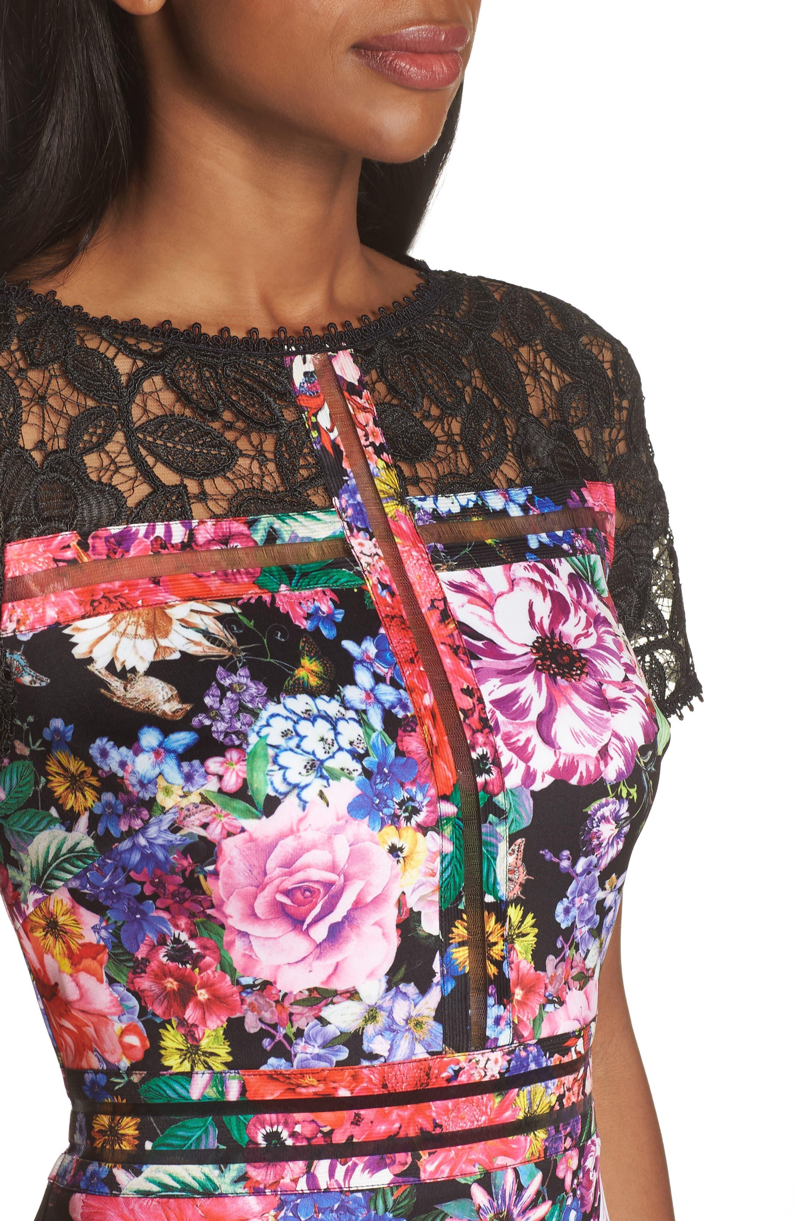 Floral & Lace Sheath Dress,                             Alternate thumbnail 4, color,                             Black/ Floral