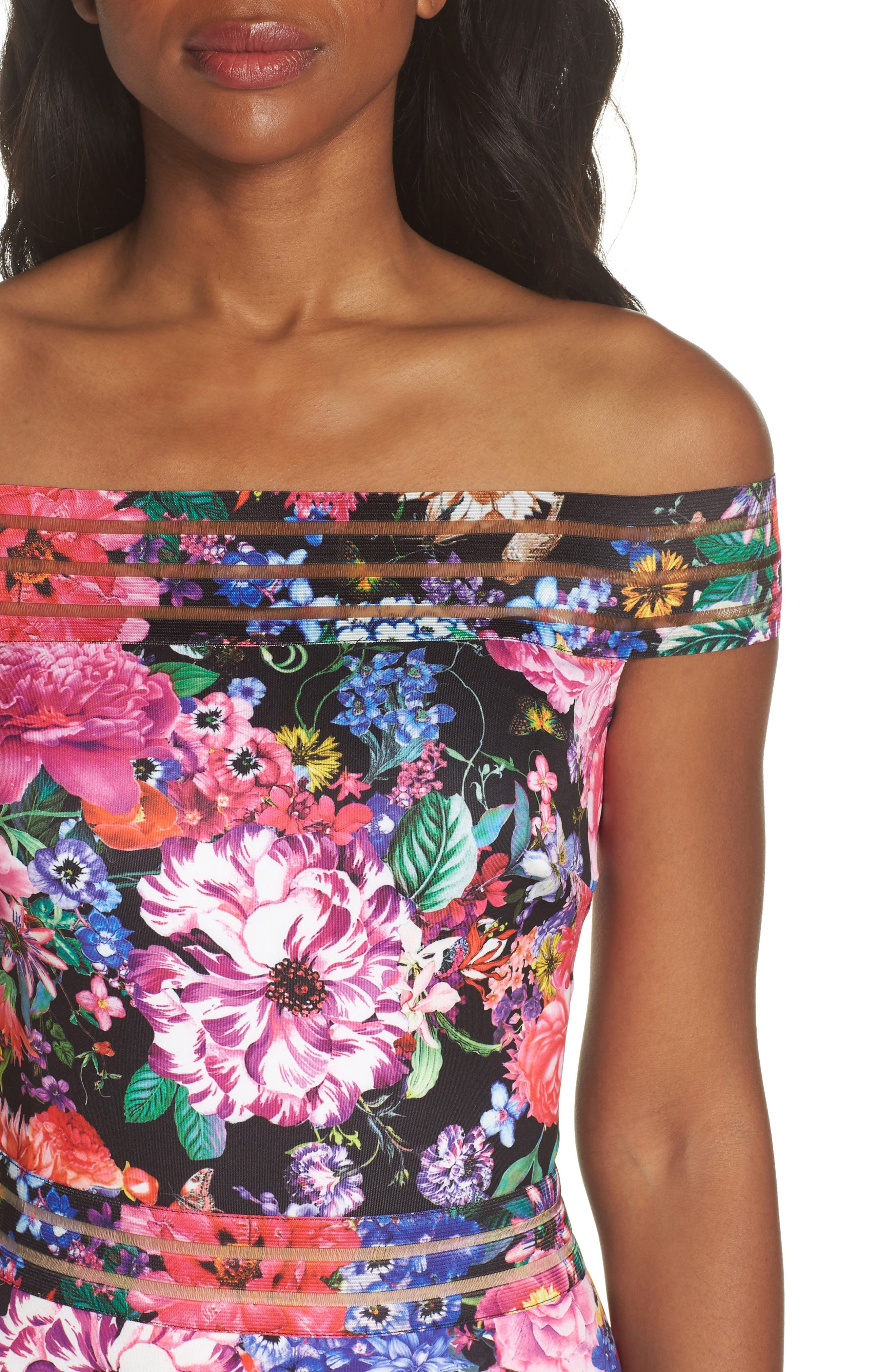 Bondi Off the Shoulder Gown,                             Alternate thumbnail 4, color,                             Black Floral