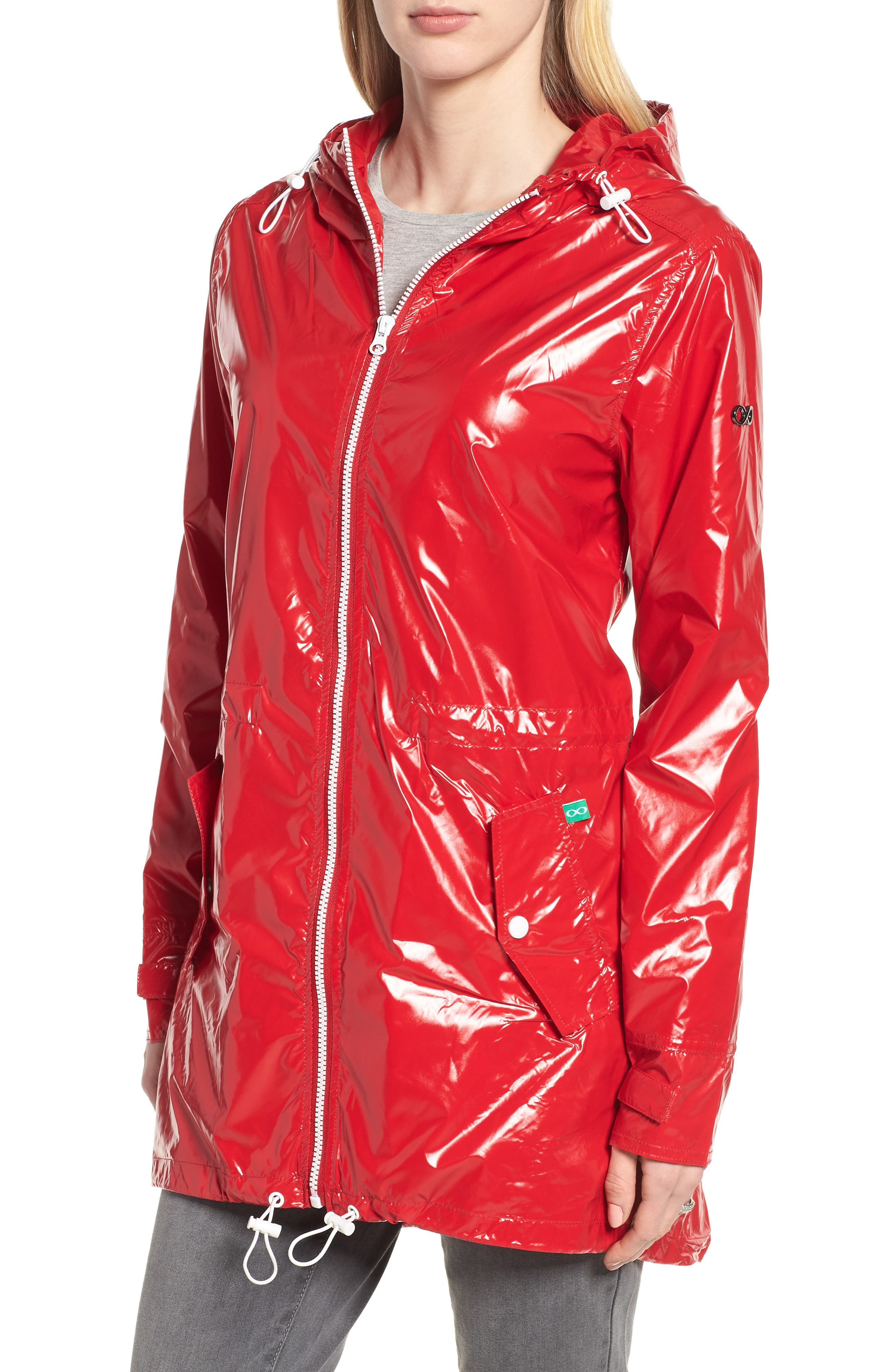 Waterproof Convertible 3-in-1 Maternity Raincoat,                             Alternate thumbnail 3, color,                             Red
