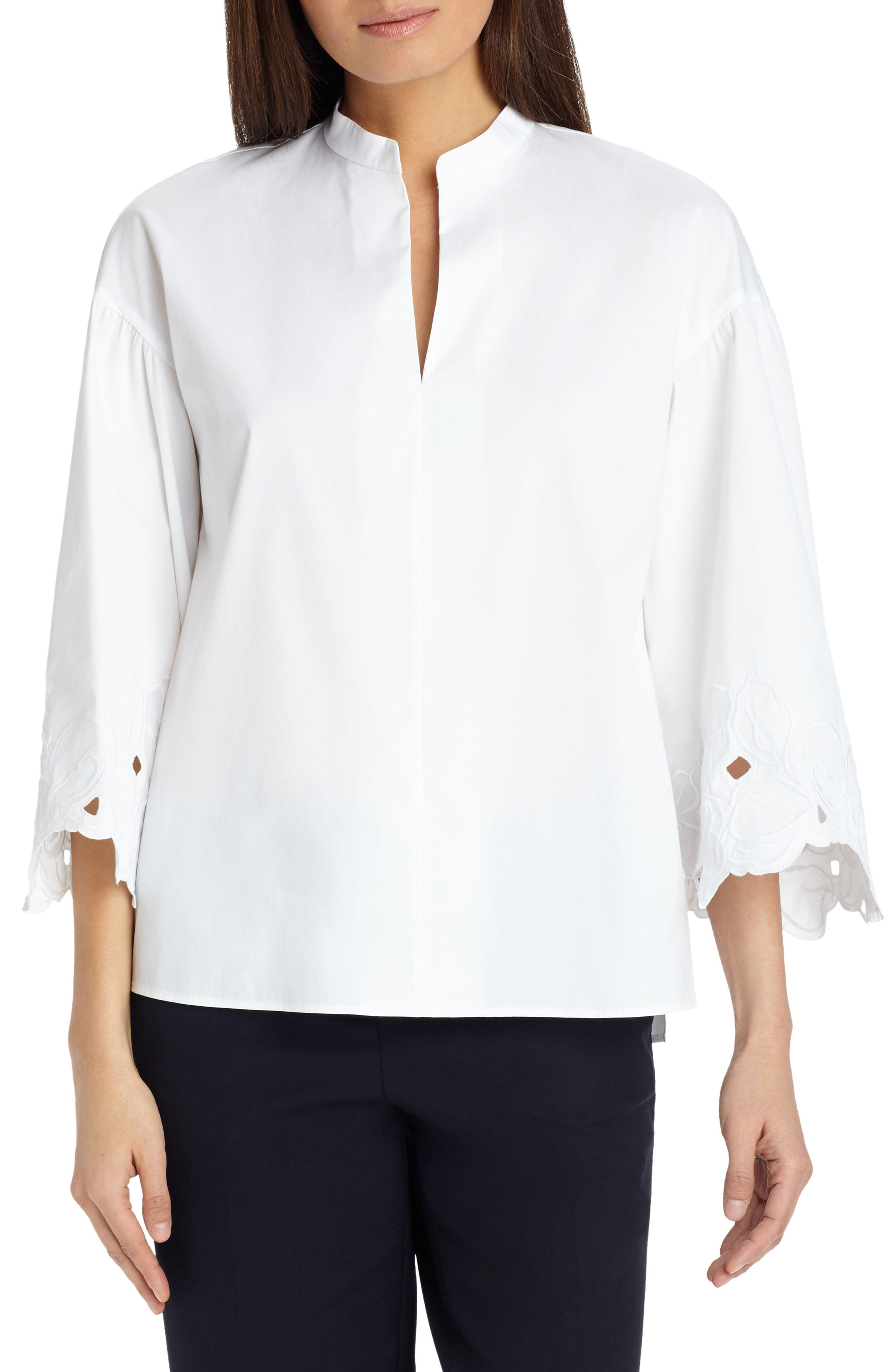 Carla Embroidered Blouse,                             Main thumbnail 1, color,                             White