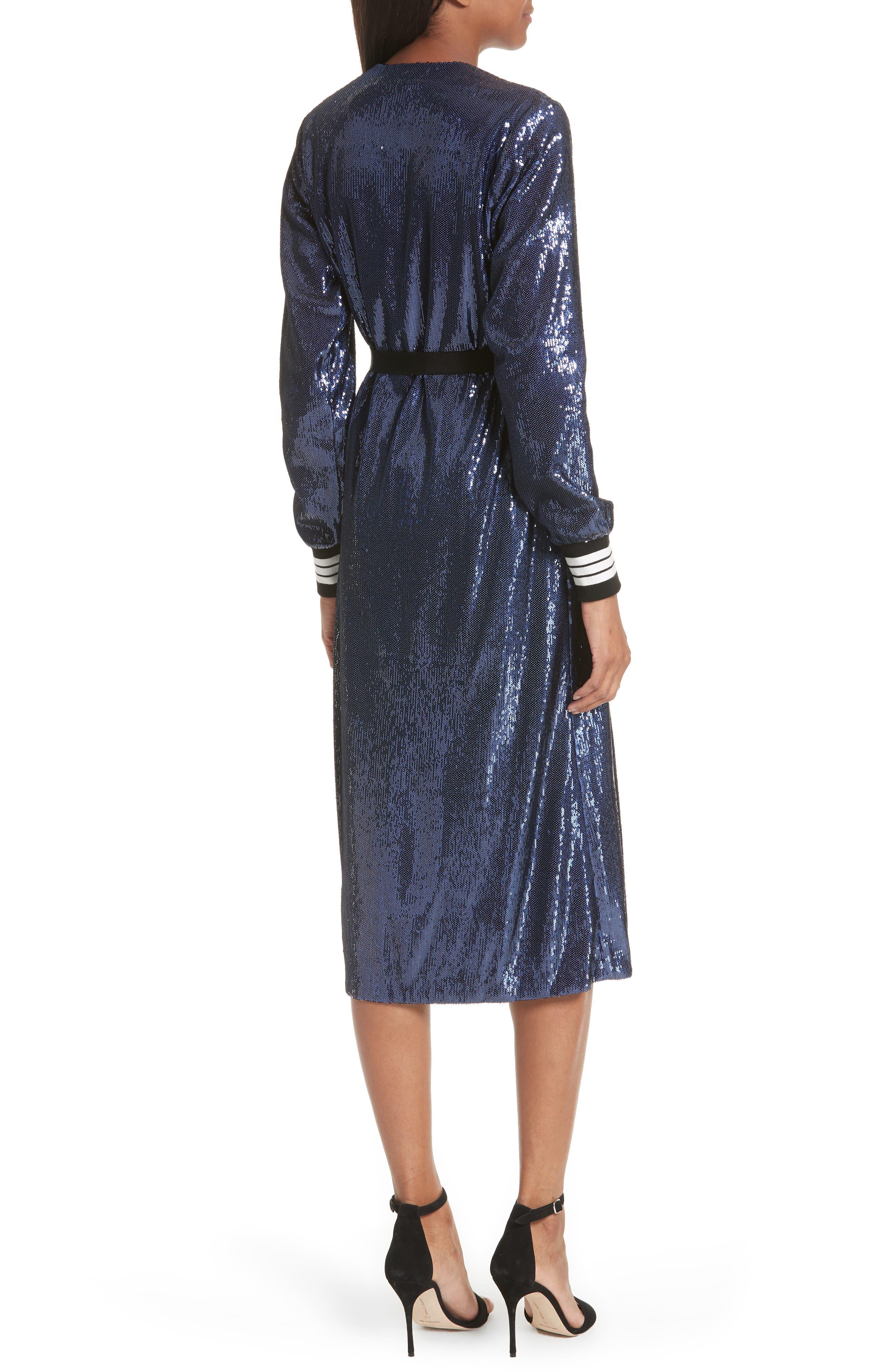 Sequin Wrap Dress,                             Alternate thumbnail 3, color,                             Blue